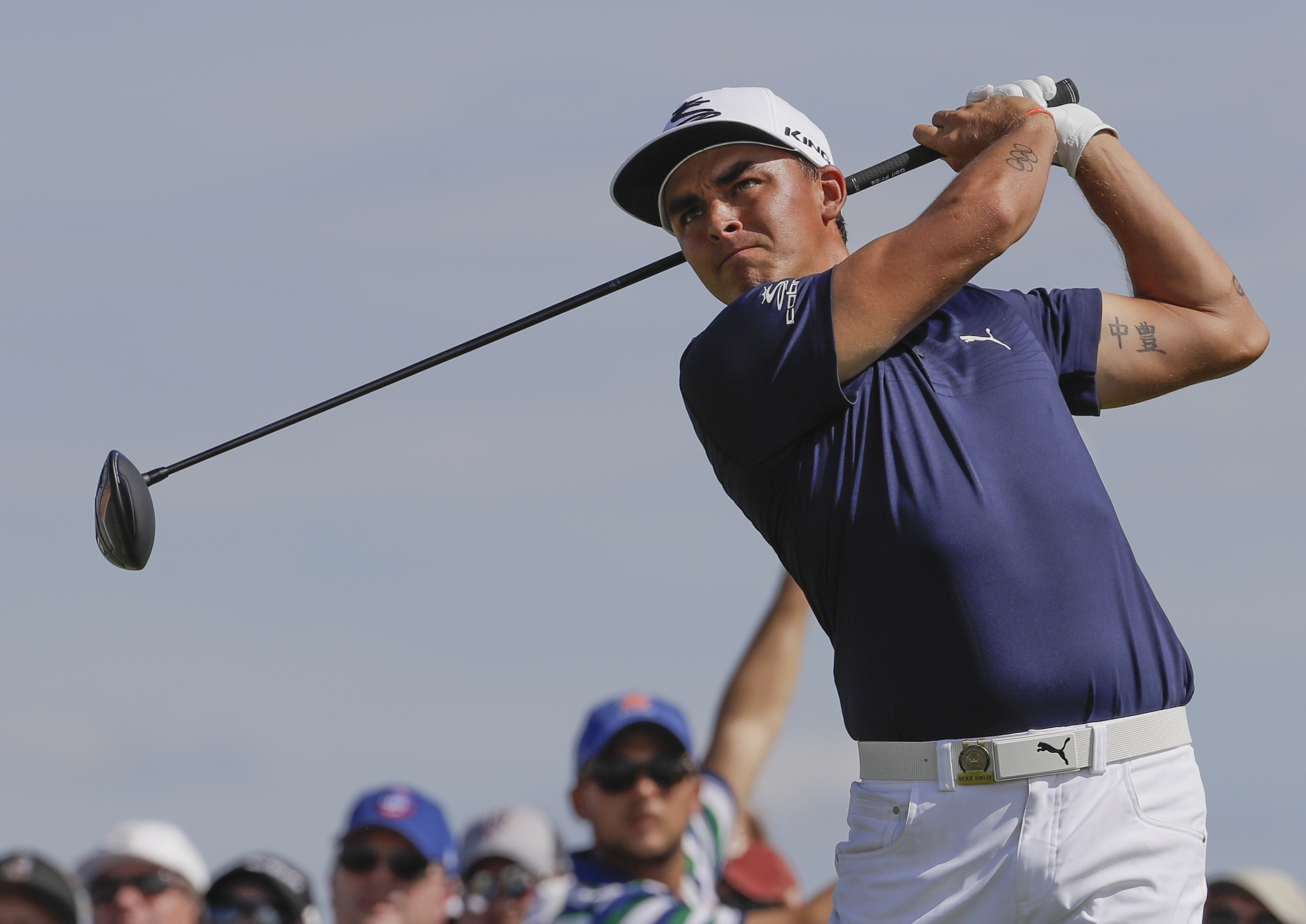 Rickie Fowler hits a drive on the 10th hole during the second round of the U.S. Open golf tournament Friday, June 16, 2017, at Erin Hills in Erin, Wis. (AP Photo/David J. Phillip)