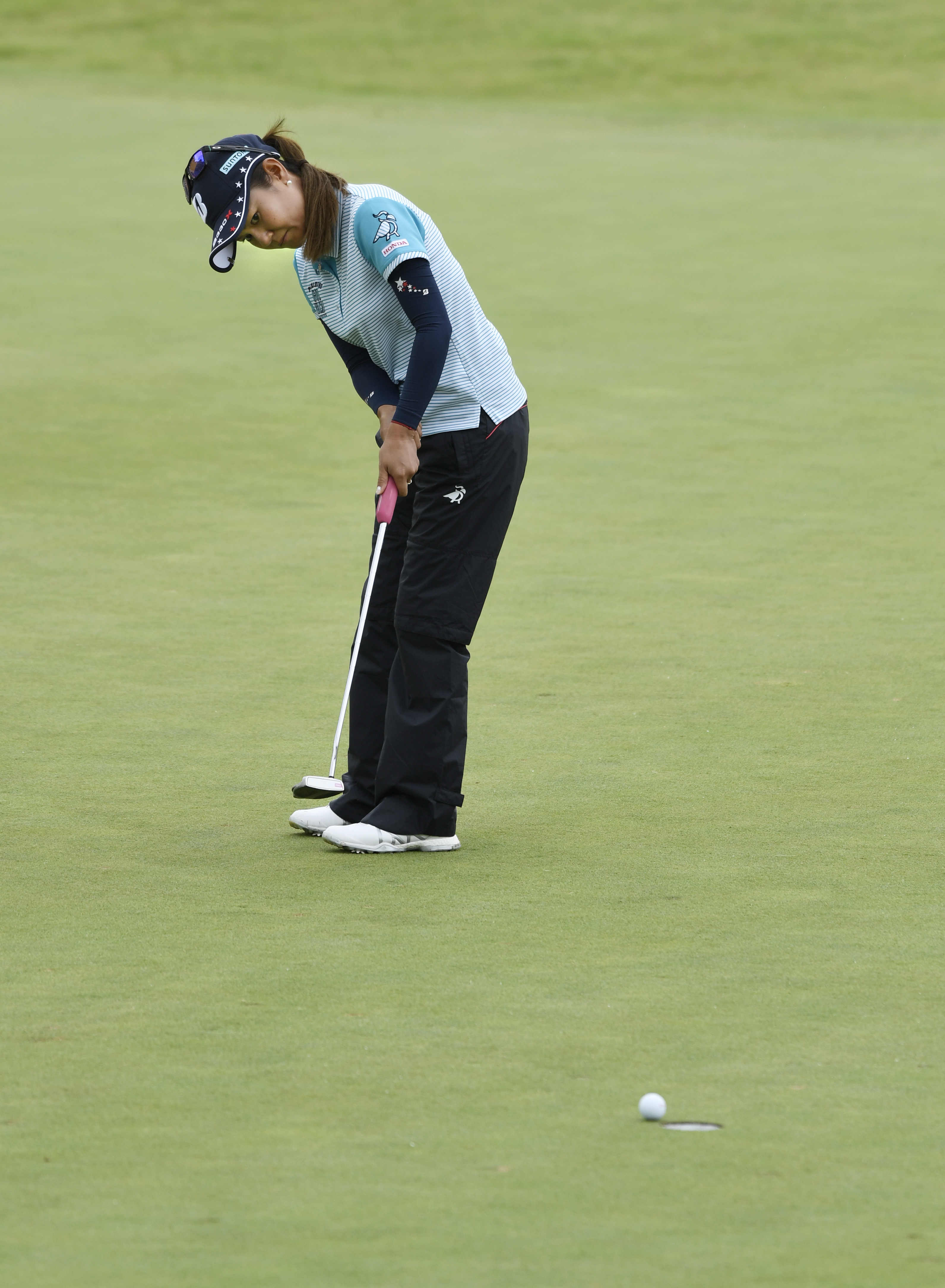 CORRECTS YEAR TO 2017 NOT 2016 - Ai Miyazato, of Japan, watches her putt just miss on the second hole during the LPGA Wal-Mart NW Arkansas Championship golf tournament at Pinnacle Country Club in Rogers, Ark., Friday, June 23, 2017. (AP Photo/Michael Wood