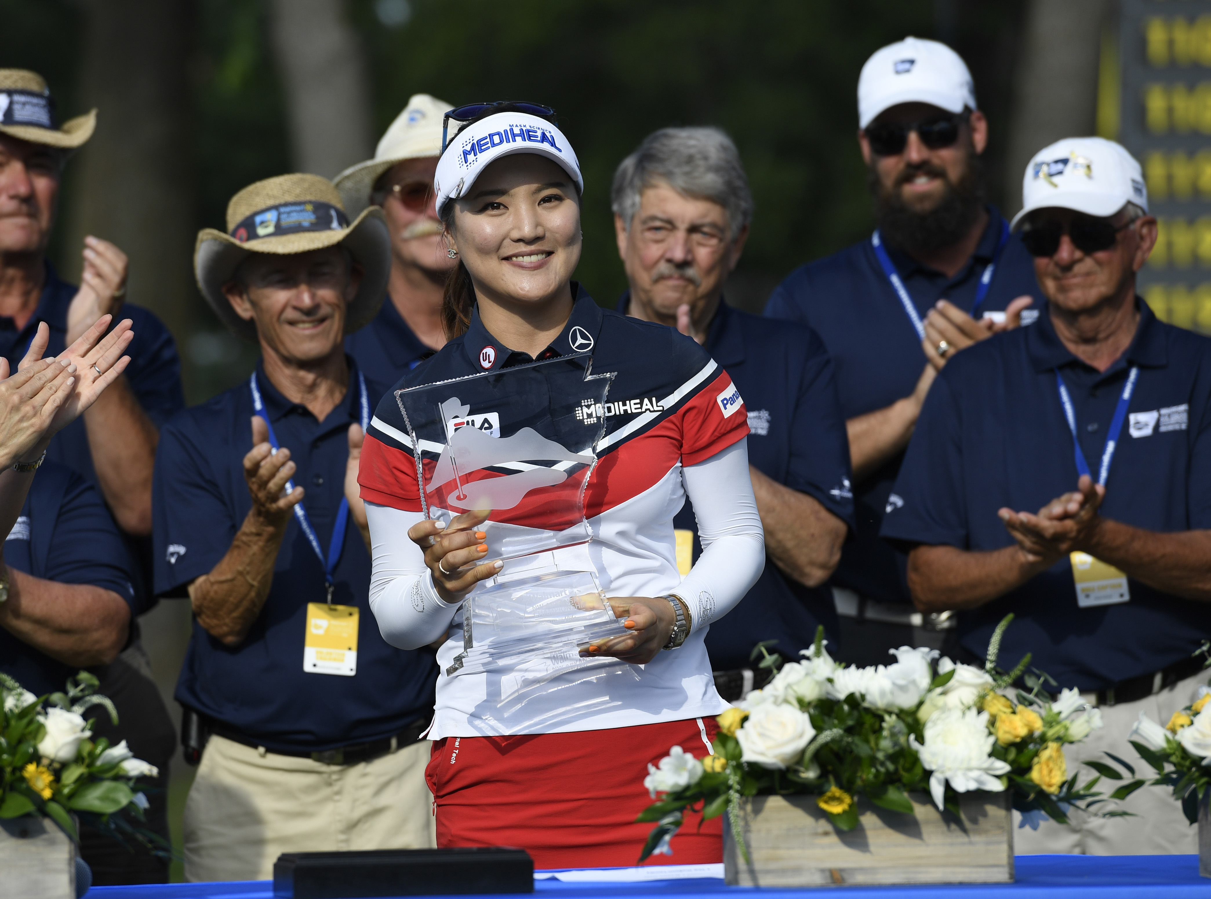 So Yeon Ryu from South Korea holds her trophy after winning the LPGA Wal-Mart NW Arkansas Championship golf tournament at Pinnacle Country Club in Rogers, Ark., Sunday, June 25, 2017. (AP Photo/Michael Woods)