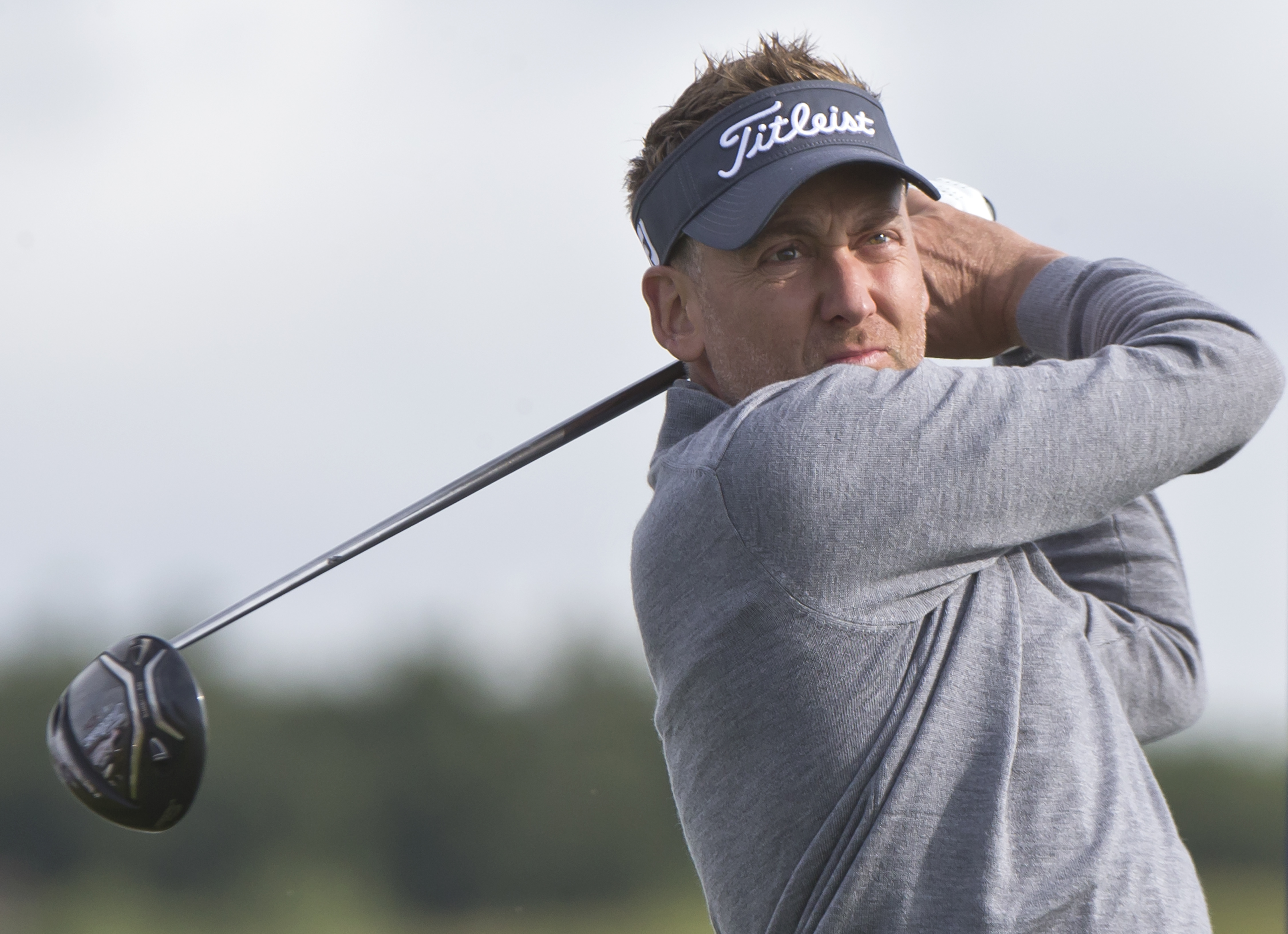 Ian Poulter of England tees off during the first day of the French Open Golf tournament at Paris National course in Guyancourt, west of Paris, France, Thursday, June 29, 2017. (AP Photo/Michel Euler)