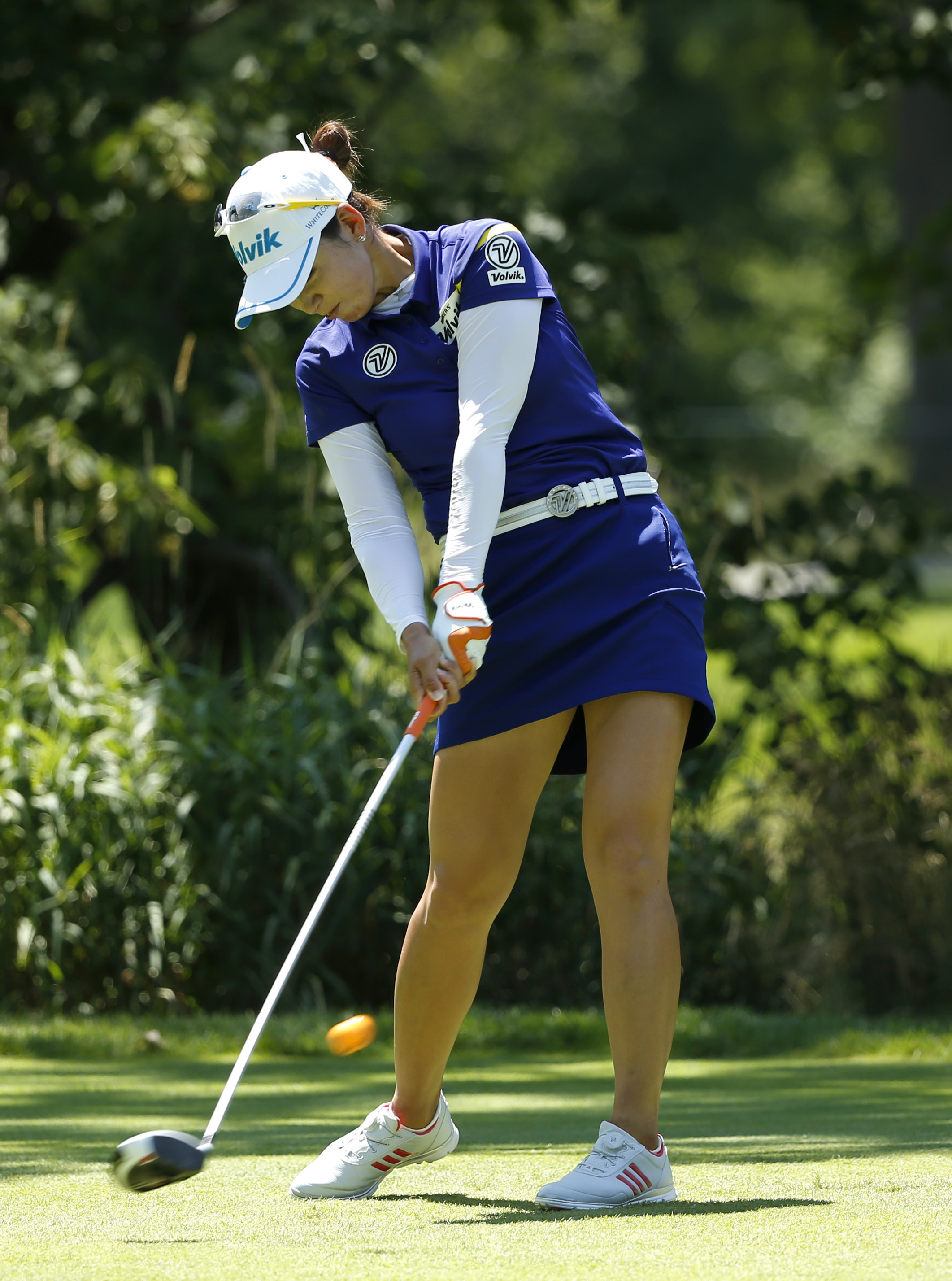 Chella Choi, of South Korea, strikes her tee shot on the fifth hole during the final round of the Women's PGA Championship golf tournament at Olympia Fields Country Club, Sunday, July 2, 2017, in Olympia Fields, Ill. (AP Photo/Charles Rex Arbogast)