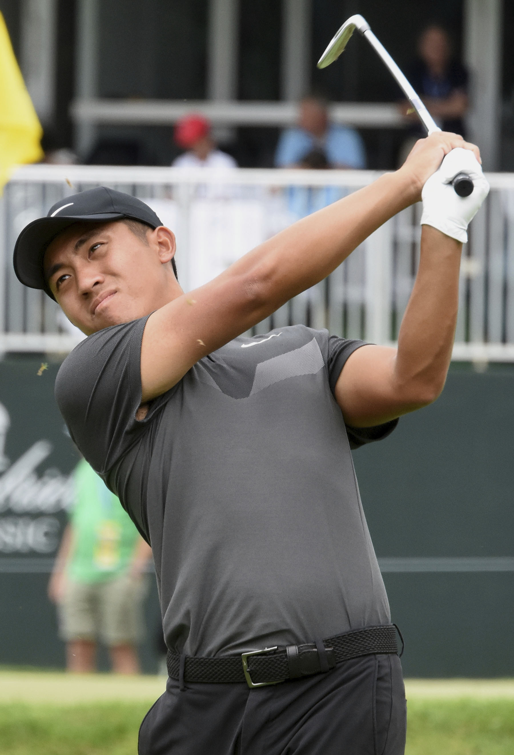 C.T. Pan watches his tee shot on the 18th hole during the first round of the Greenbrier Classic golf tournament, Thursday, July 6,  2017, in White Sulphur Springs, W.Va. (Rick Barbero/The Register-Herald via AP)