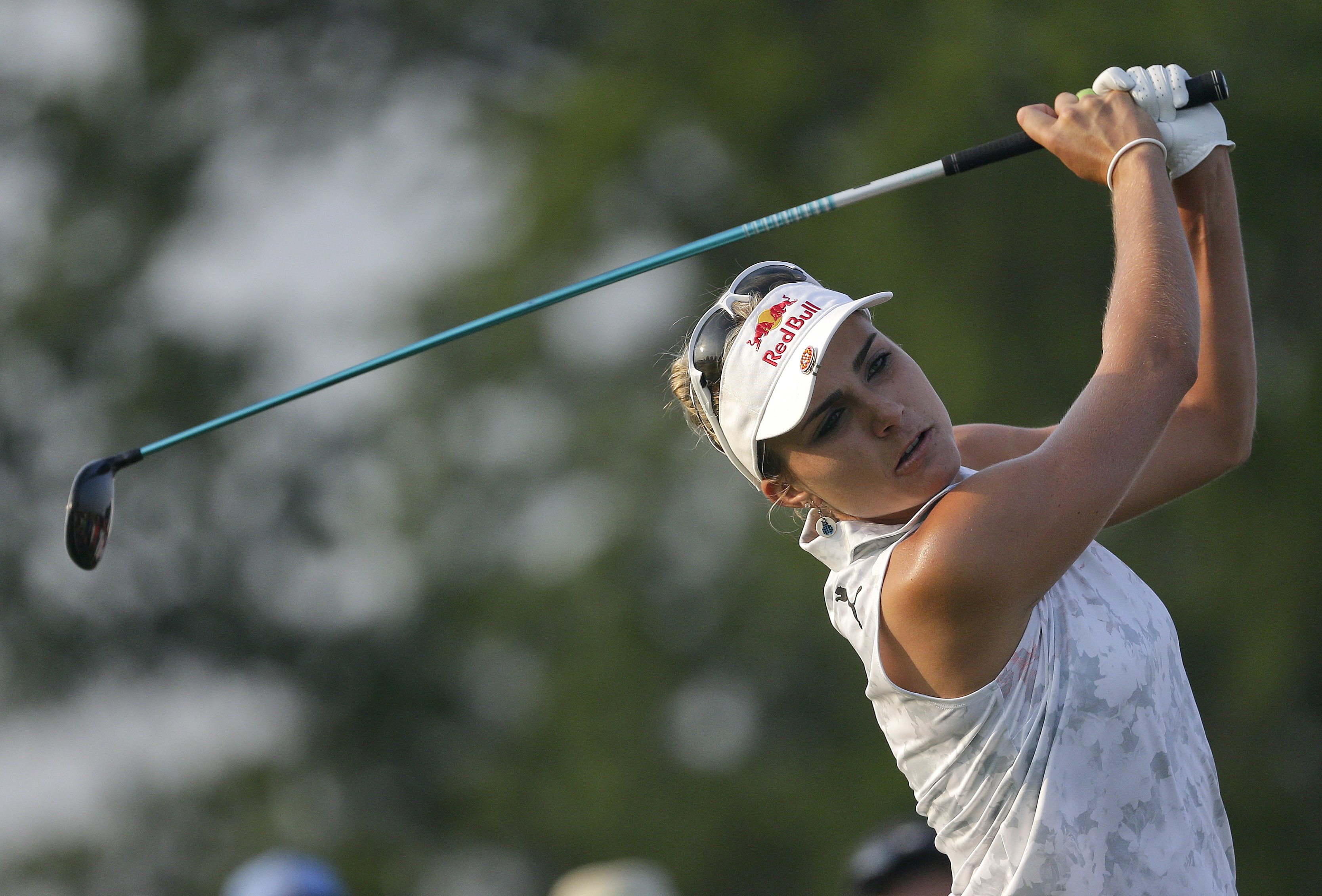 Lexi Thompson tees off on the 10th hole during the first round of the U.S. Women's Open Golf tournament Thursday, July 13, 2017, in Bedminster, N.J. (AP Photo/Seth Wenig)