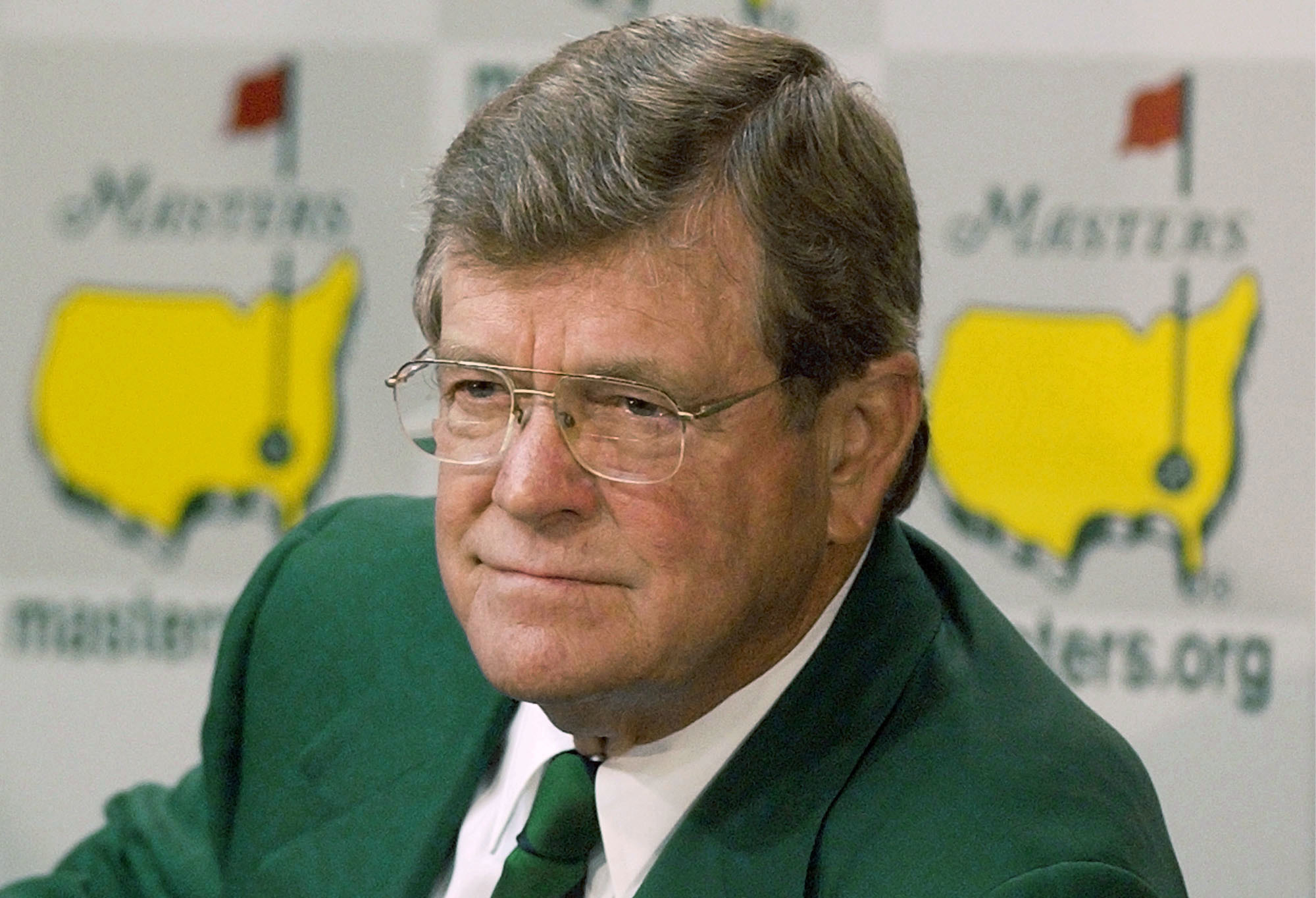 FILE - This April 10, 2002, file photo shows Hootie Johnson, then-chairman of the Augusta National Golf Club, during a news conference at the Augusta National Golf Club in Augusta, Ga. Hootie Johnson, the South Carolina banker who as chairman of Augusta N