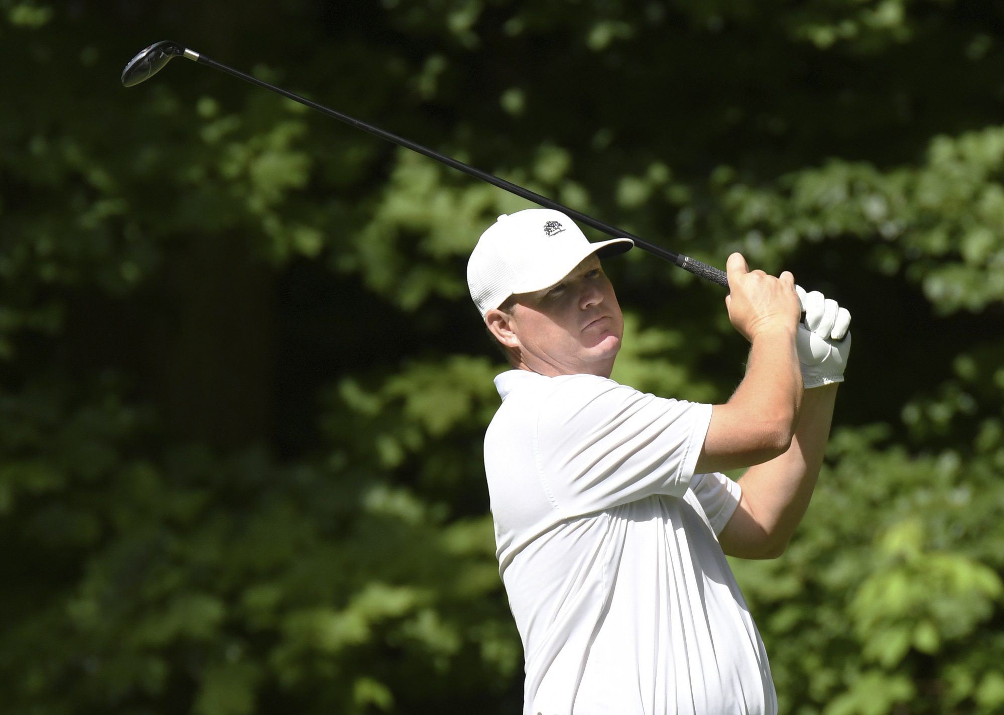 Chad Campbell tees off on the 17th hole during the second round of the John Deere Classic golf tournament Friday, July 14, 2017, in Silvis, Ill. (Todd Mizener/QCOnline.com via AP)