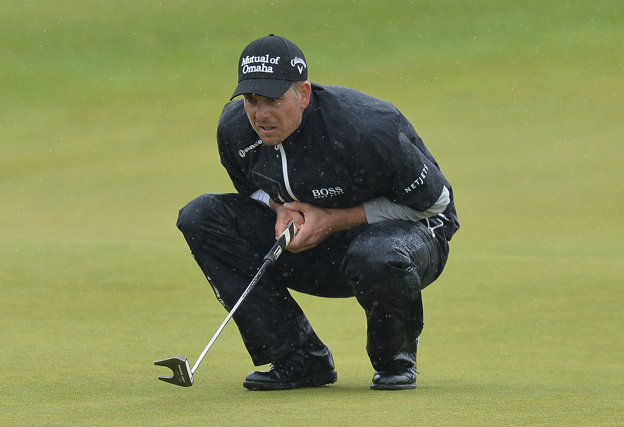 Sweden's Henrik Stenson prepares to putt on the 5th hole on day three of the Scottish Open at Dundonald Links, Troon, Scotland, Saturday July 15, 2017. (Mark Runnacles/PA via AP)