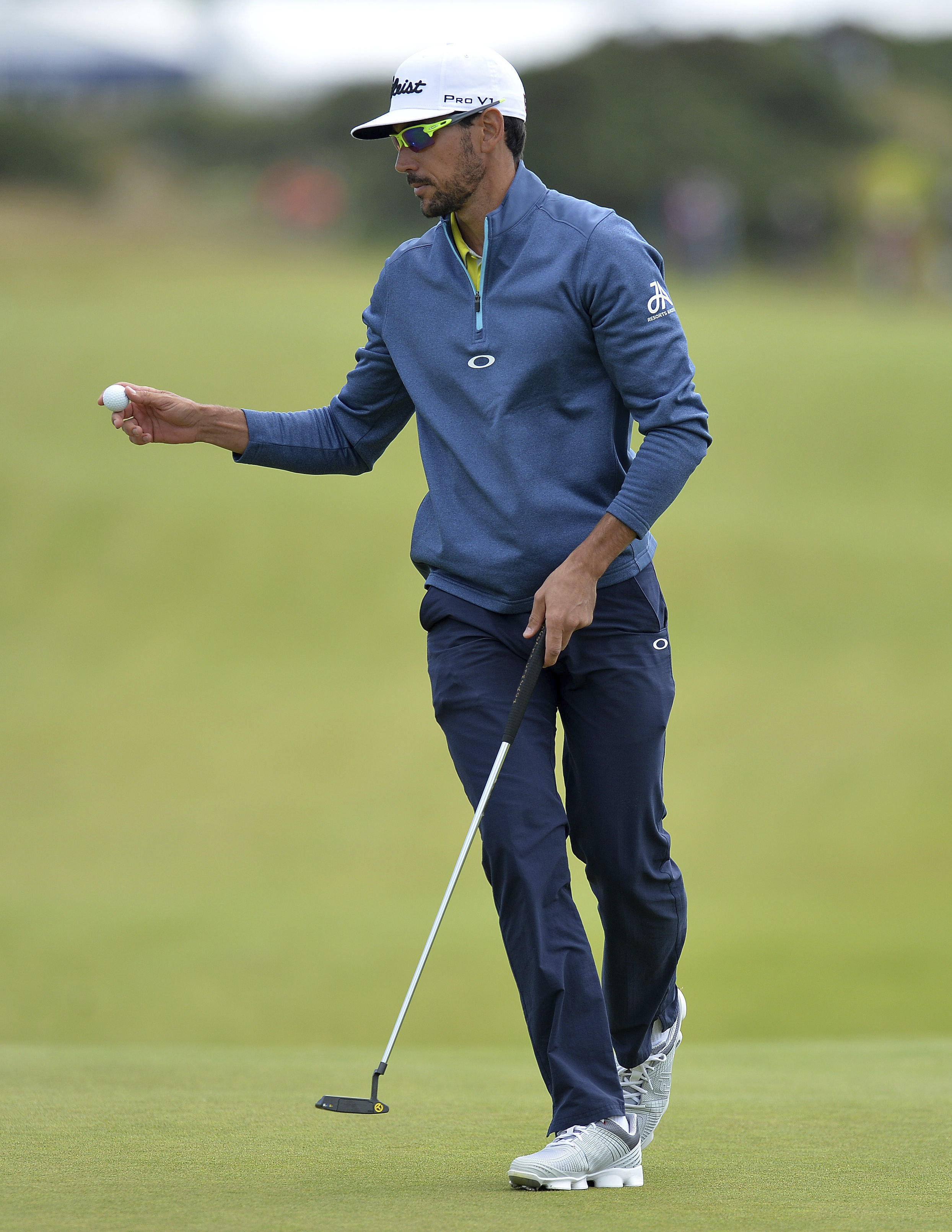 Rafa Cabrera Bello of Spain after putting on the 1st hole during day four of the Scottish Open at Dundonald Links, Troon, Scotland, Sunday July 16, 2017. (Mark Runnacles/PA via AP)