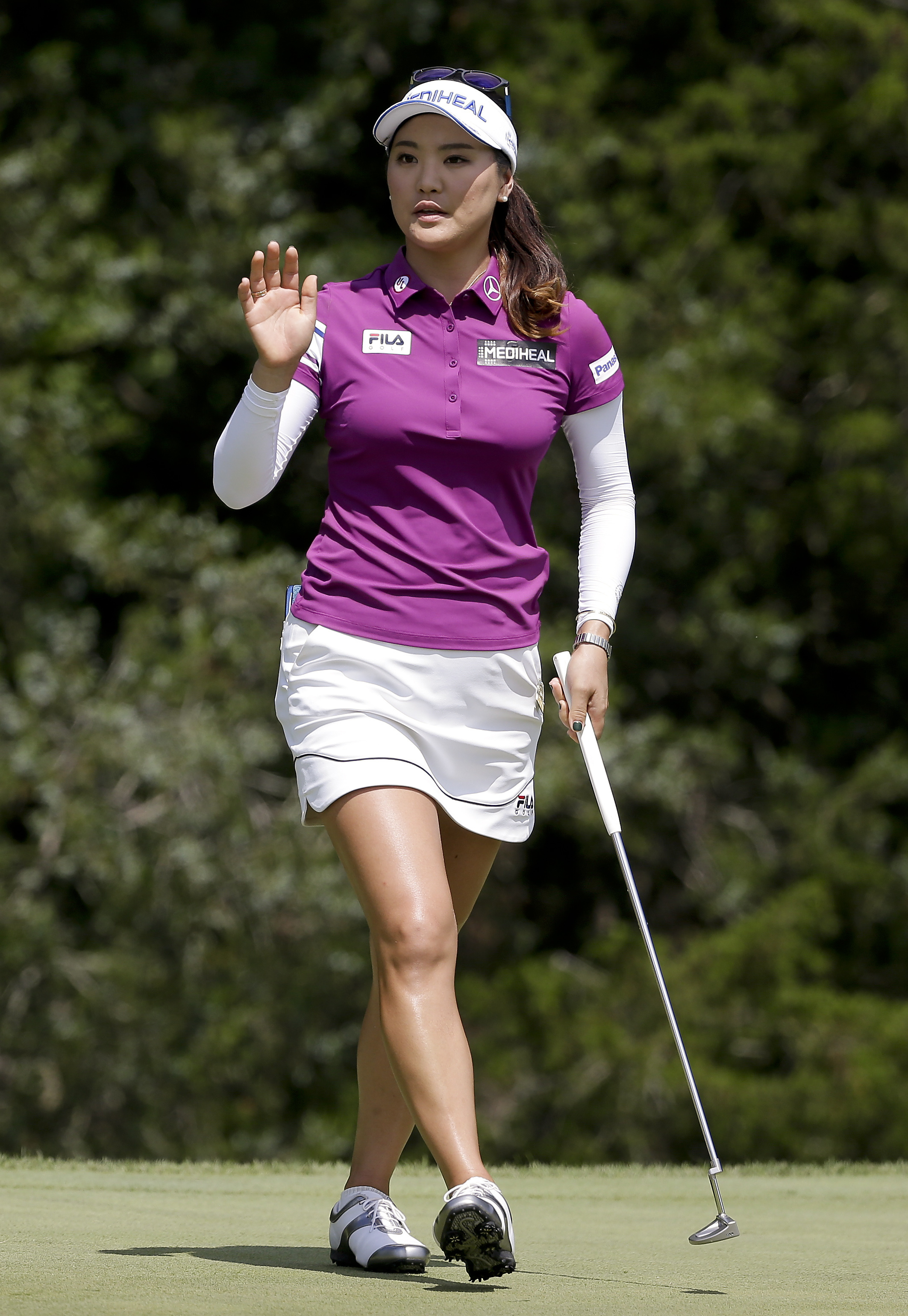 So Yeon Ryu reacts after sinking a putt on the third green during the final round of the U.S. Women's Open Golf tournament Sunday, July 16, 2017, in Bedminster, N.J. (AP Photo/Seth Wenig)