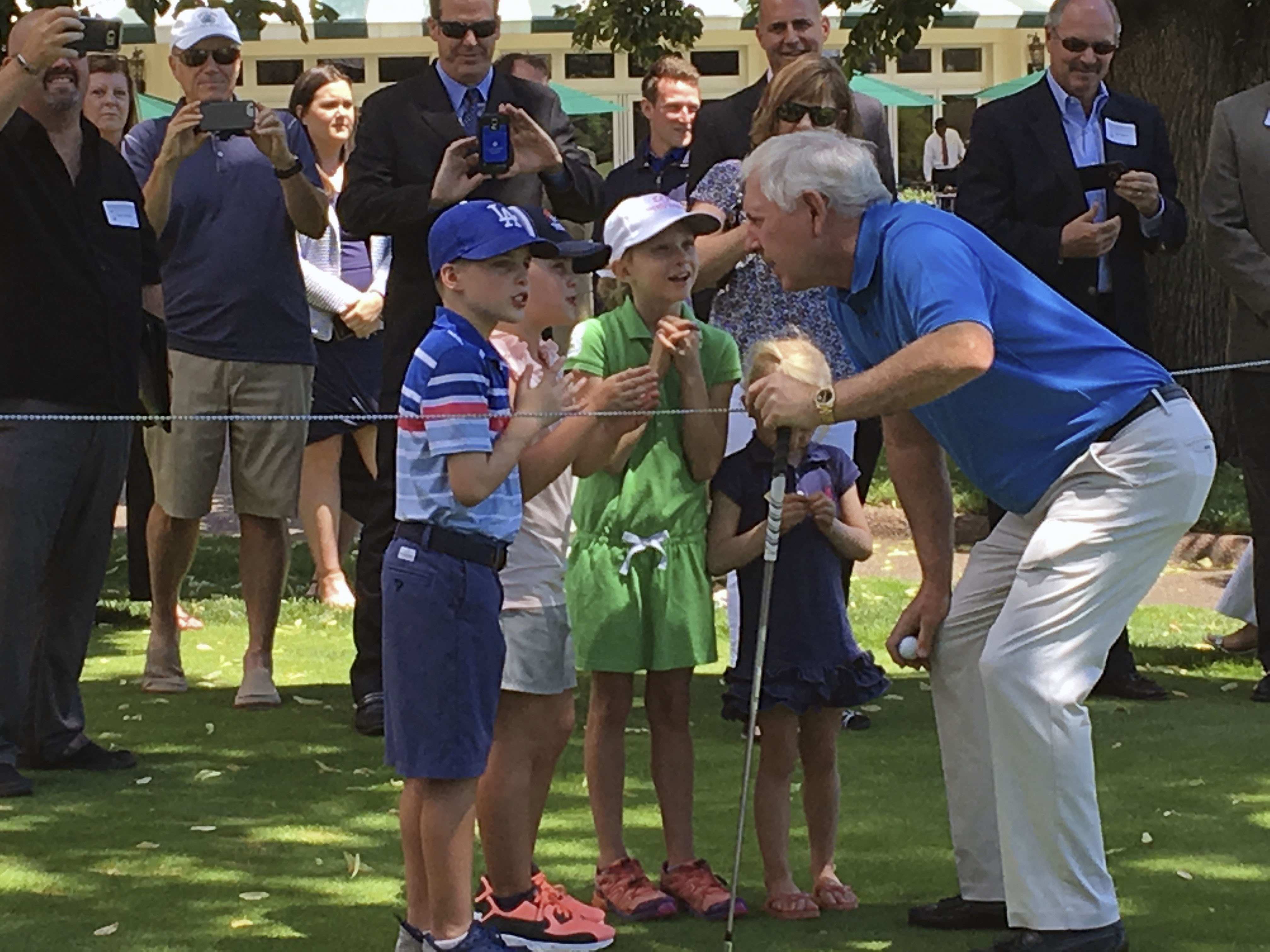 Hale Irwin speaks with children before teeing off on the fourth hole at The Broadmoor's East Golf Course on Tuesday, July 18, 2017 in Colorado Springs, Colo. Irwin's tee shot capped the launch party for the 2018 U.S. Senior Open, where  Denver Broncos gen