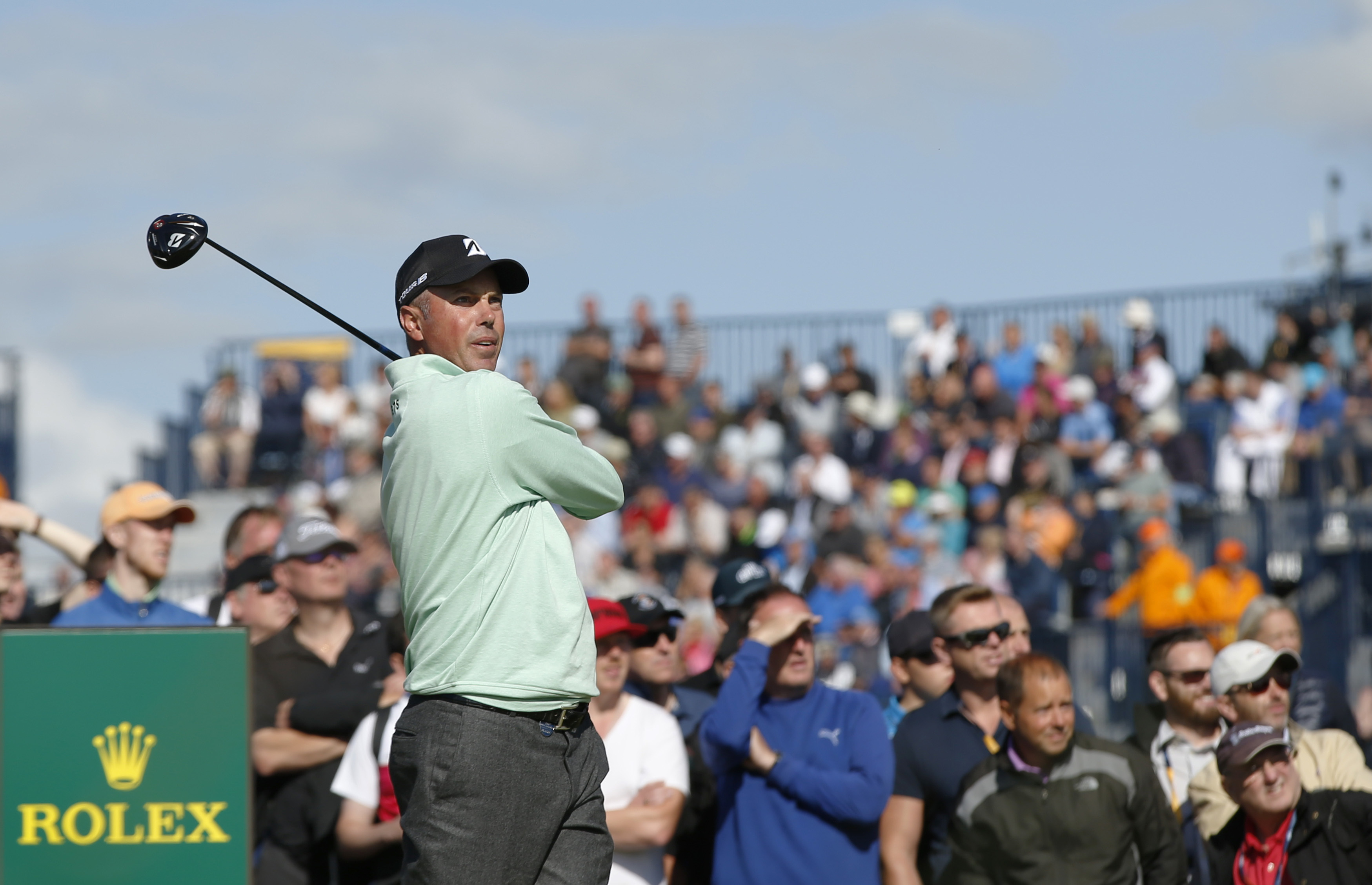 Matt Kuchar of the United States plays off the 15th tee during the first round of the British Open Golf Championship, at Royal Birkdale, Southport, England Thursday, July 20, 2017. (AP Photo/Alastair Grant)