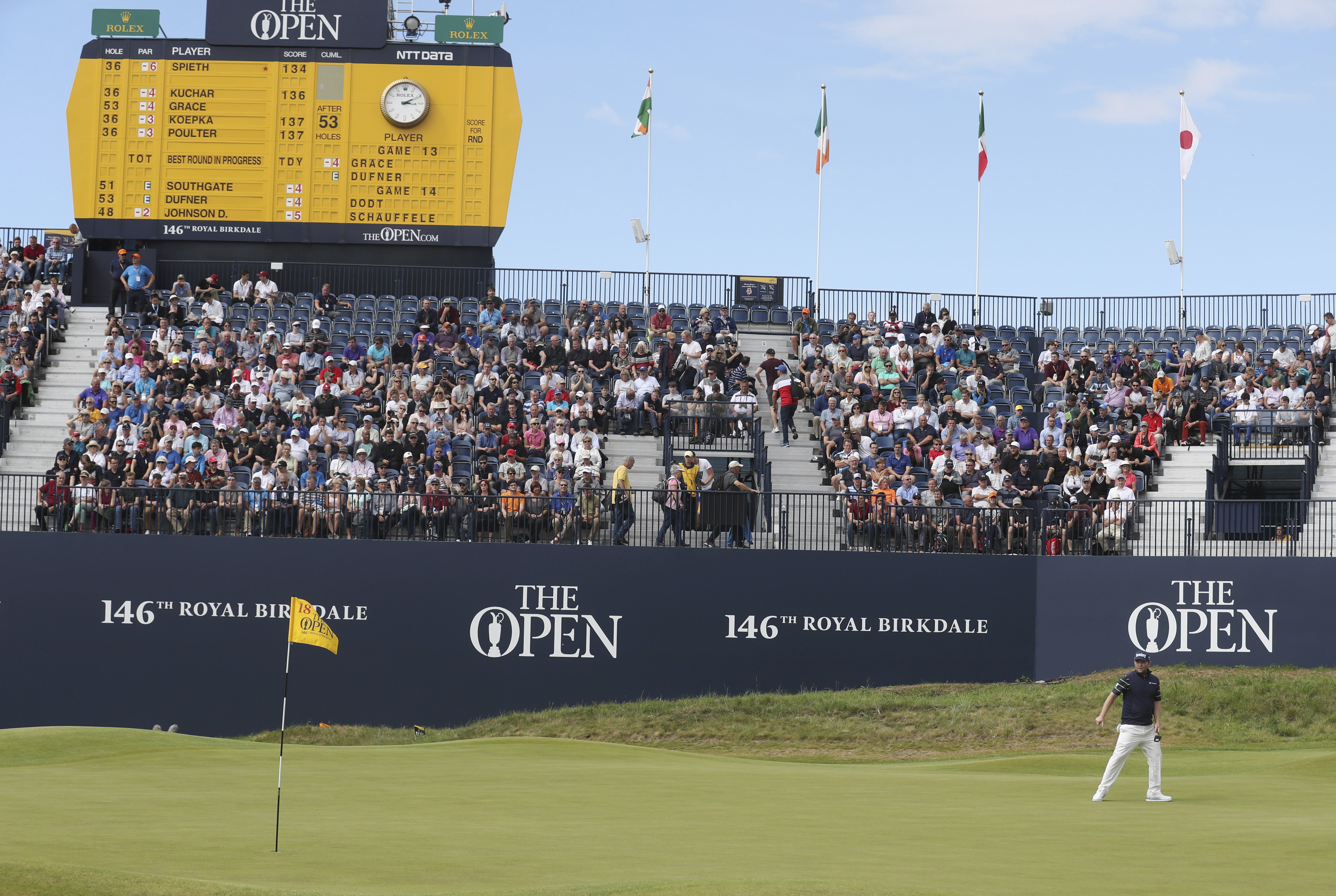 South Africa's Branden Grace lines up a putt on the 18th green during the third round of the British Open Golf Championship, at Royal Birkdale, Southport, England, Saturday July 22, 2017. (AP Photo/Peter Morrison)