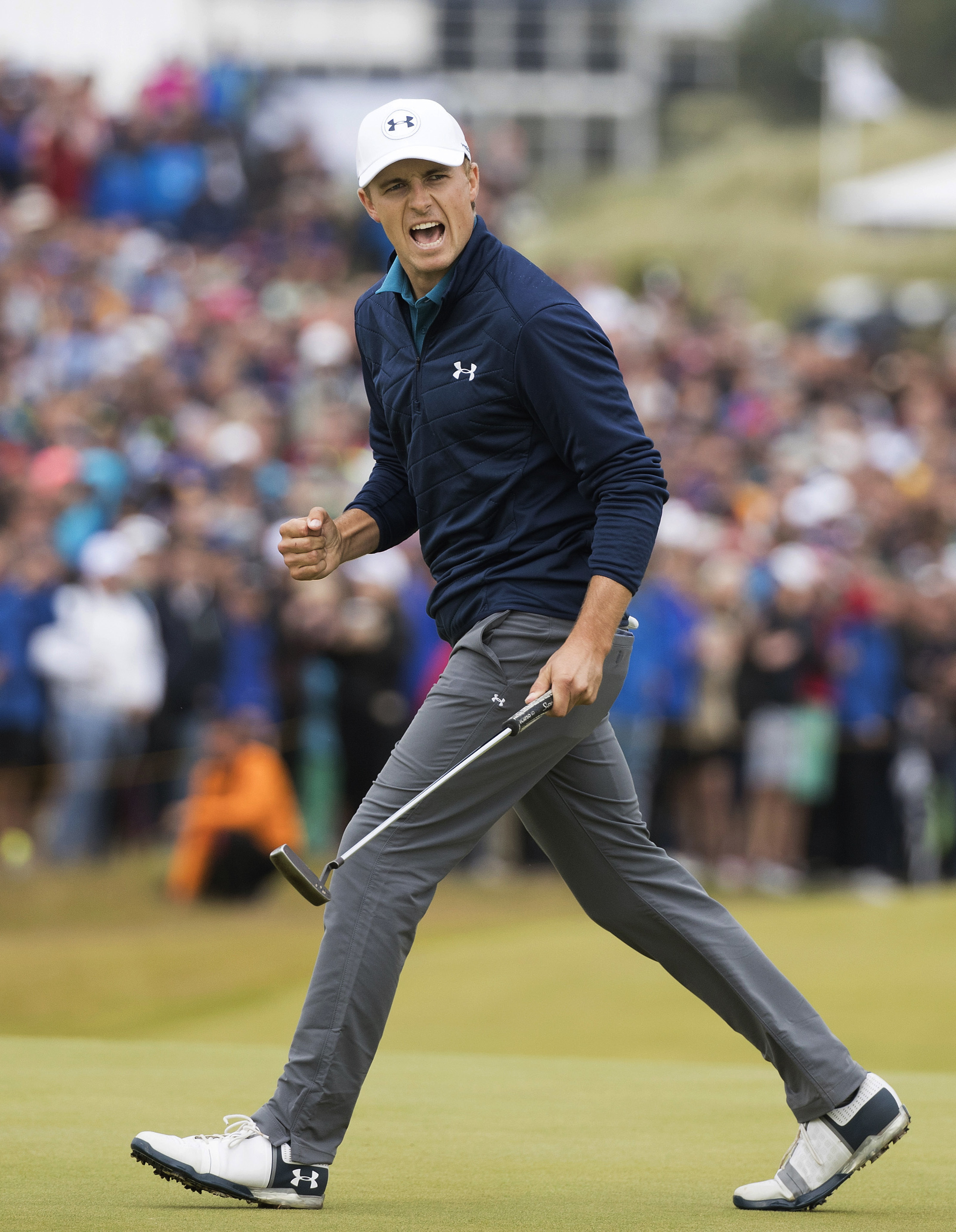 Jordan Spieth of the United States celebrates his birdie on the 16th hole during the final round of the British Open Golf Championship, at Royal Birkdale, in Southport, England, Sunday July 23, 2017. (AP Photo)