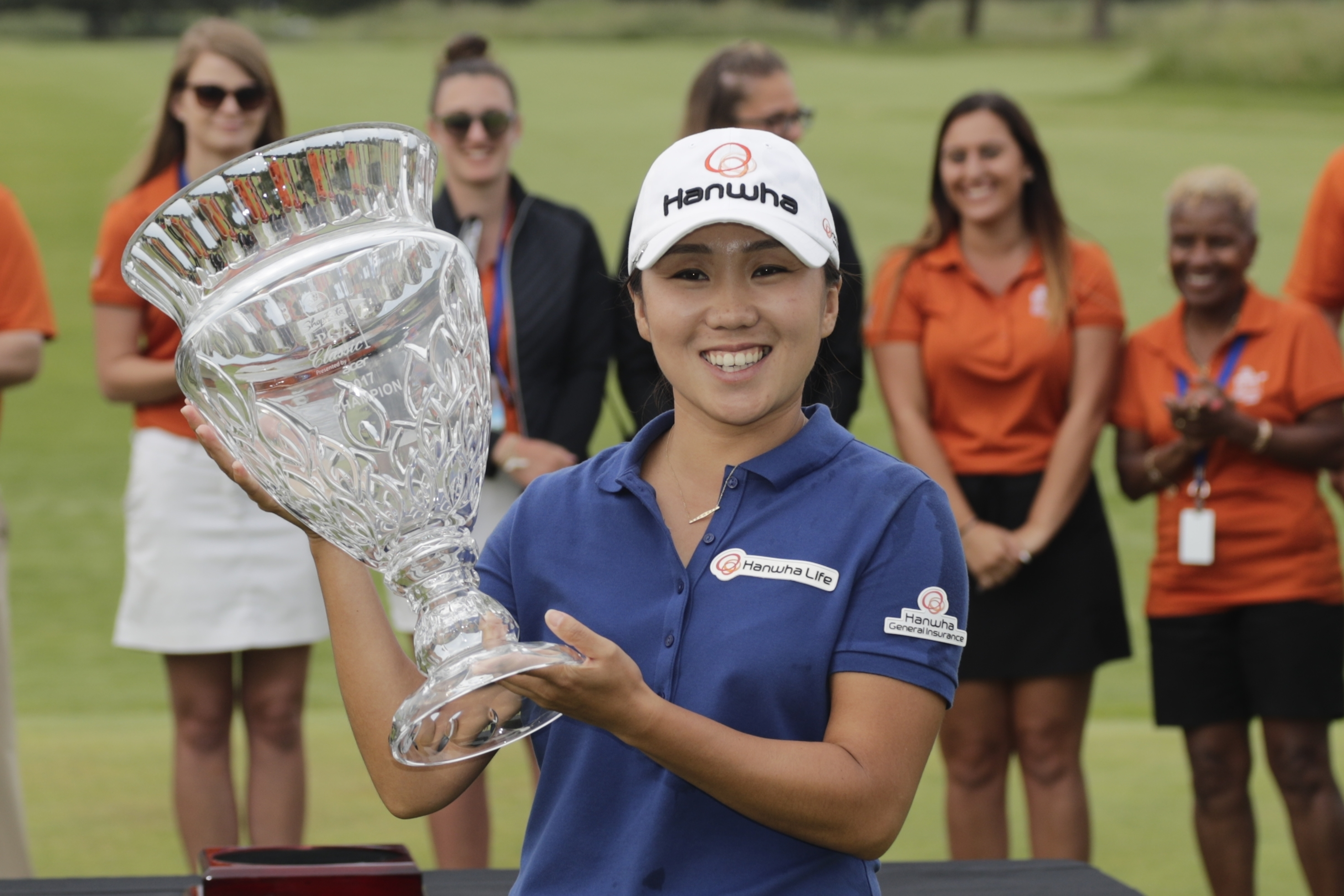 In-Kyung Kim, of South Korea, holds the trophy as she celebrates winning the ShopRite LPGA Classic golf tournament Sunday, June 4, 2017, in Galloway Township, N.J. (AP Photo/Frank Franklin II)