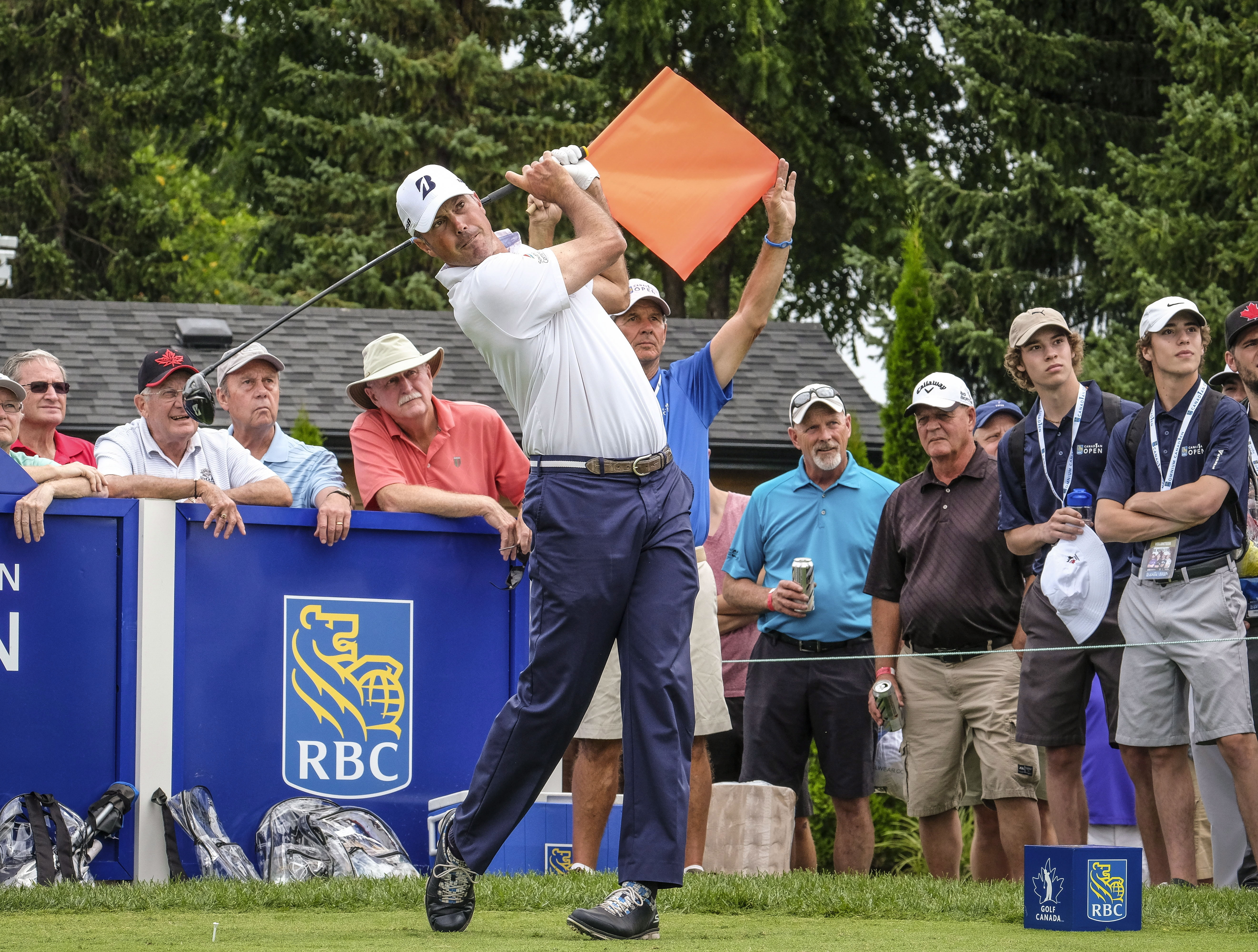 Matt Kuchar of the United States hits from the 17th tee during the Canadian Open Pro-Am golf tournament in Oakville, Ontario, Wednesday July 26, 2017. (David Cooper/The Canadian Press via AP)
