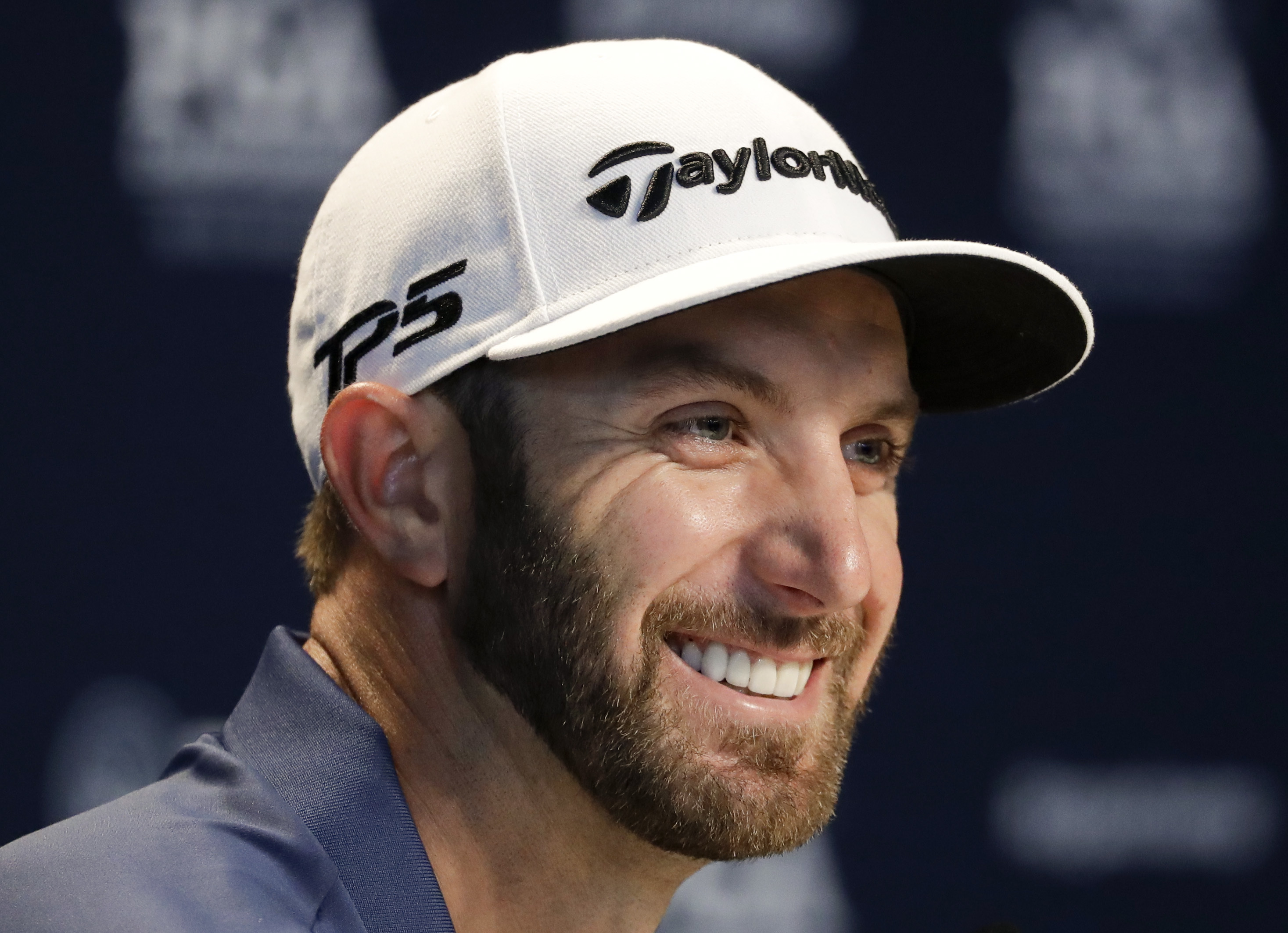 Dustin Johnson speaks during a news conference at the PGA Championship golf tournament at the Quail Hollow Club Tuesday, Aug. 8, 2017, in Charlotte, N.C. (AP Photo/Chris Carlson)
