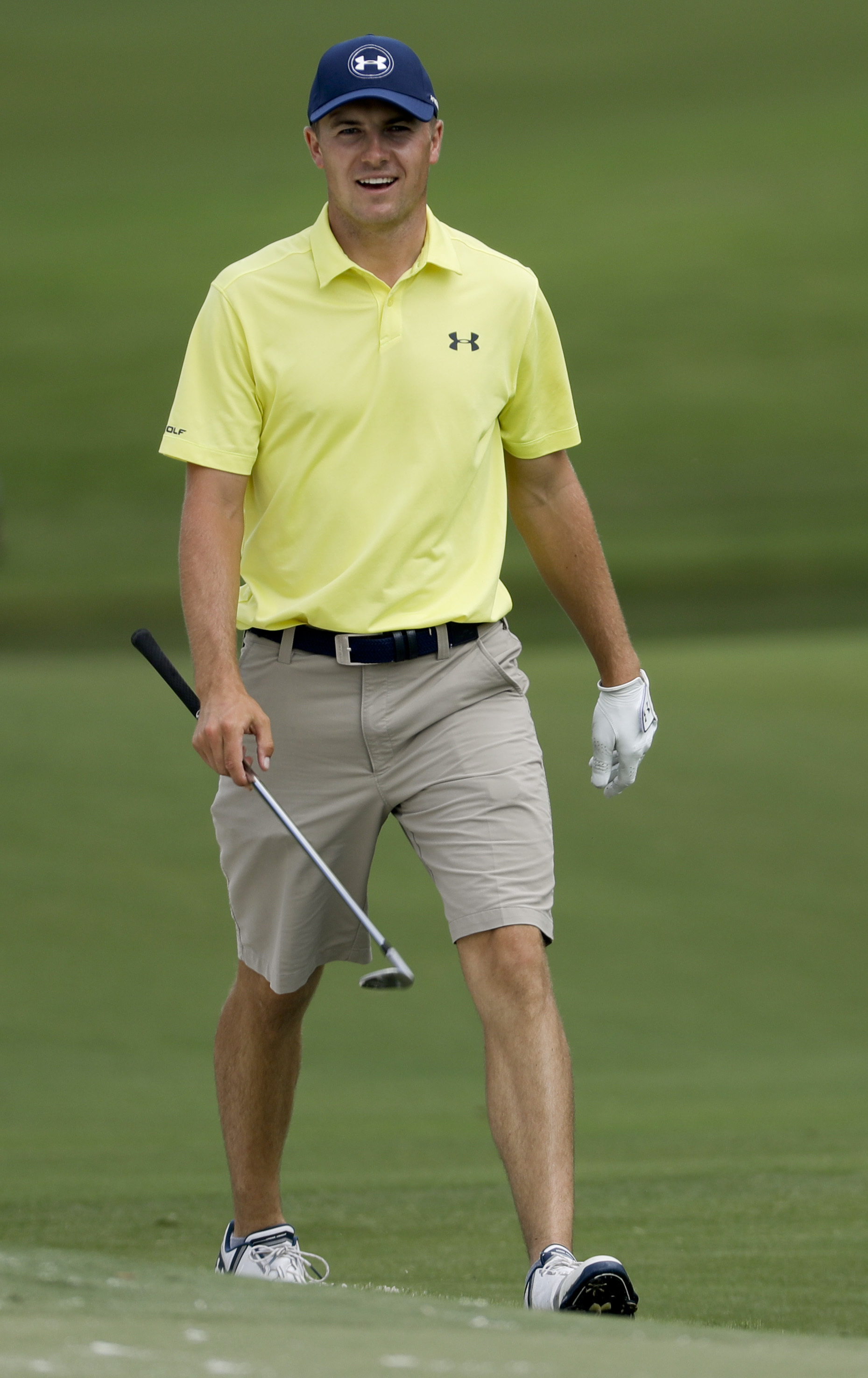 Jordan Spieth walks onto the 15th green during a practice round at the PGA Championship golf tournament at the Quail Hollow Club Tuesday, Aug. 8, 2017, in Charlotte, N.C. (AP Photo/Chris Carlson)