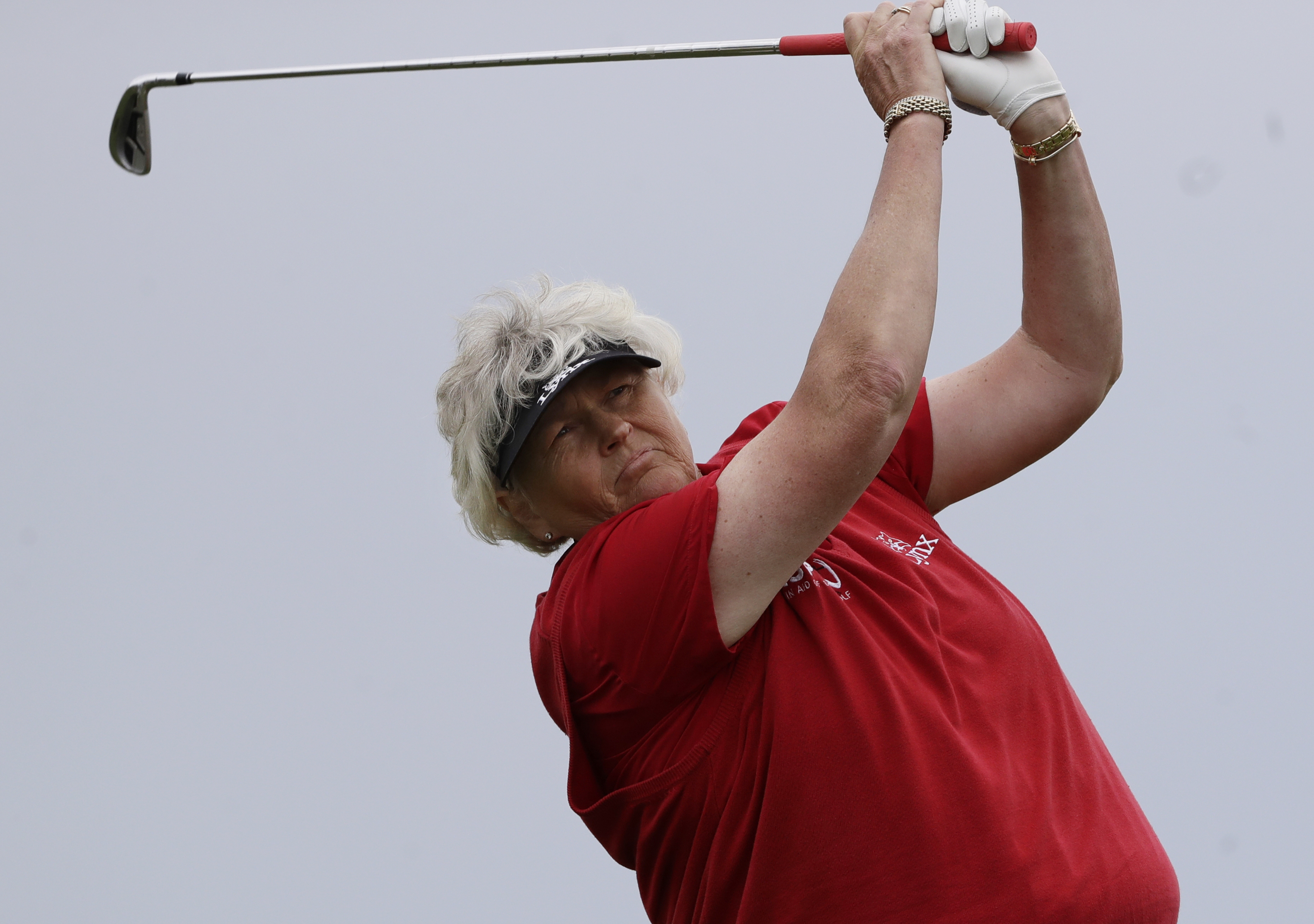 England's Laura Davies tees off on the fifth hole during the second round of the ShopRite LPGA Classic golf tournament Saturday, June 3, 2017, in Galloway Township, N.J. (AP Photo/Frank Franklin II)