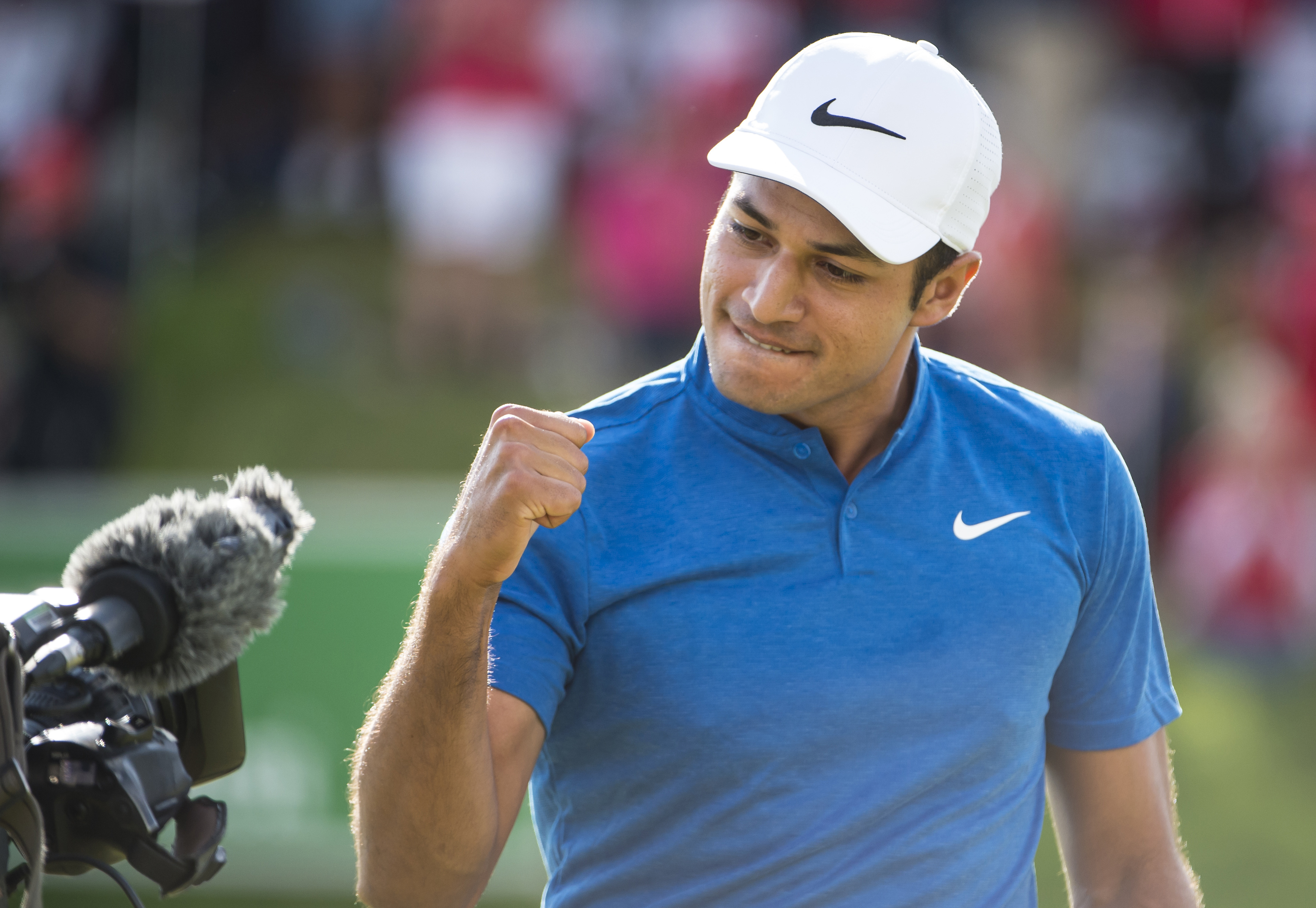 US golfer Julian Suri reacts to his win in the final round of the Made in Denmark 2017 golf tour at the Himmerland golf course in Jutland, Denmark, Sunday, Aug. 27, 2017. The match is a part of the European Golf Tour. (Rene Schuetze/ ritzau via AP)