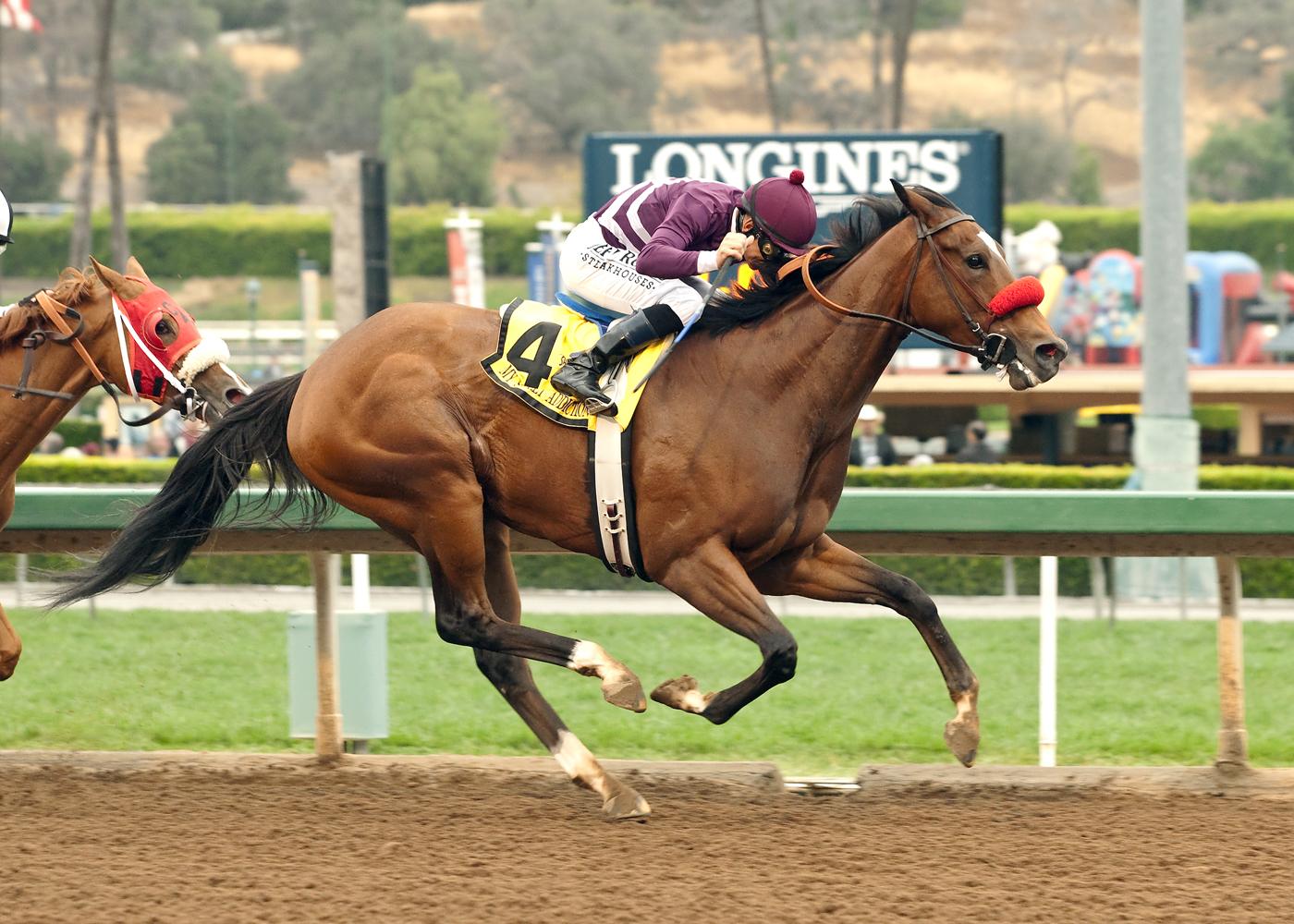 Pamela Ziebarth's My Sweet Addiction and jockey Mike Smith win the Grade I $300,000 Vanity Stakes Saturday, May 9, 2015 at Santa Anita Park, in Arcadia, Calif. (Benoit Photo via AP) NO SALES