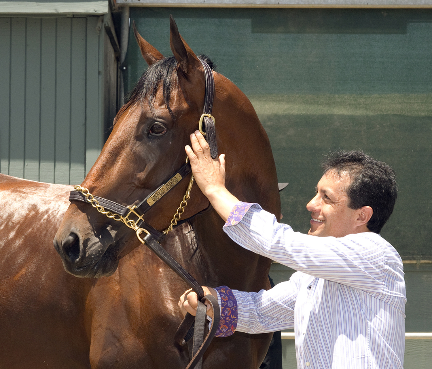 In a photo provided by Benoit Photo, jockey Victor Espinoza poses for photos with Triple Crown-winner American Pharoah on Thursday, June 18, 2015, at Santa Anita in Arcadia, Calif., after a flight from Kentucky and a police escort from the airport. (Benoi