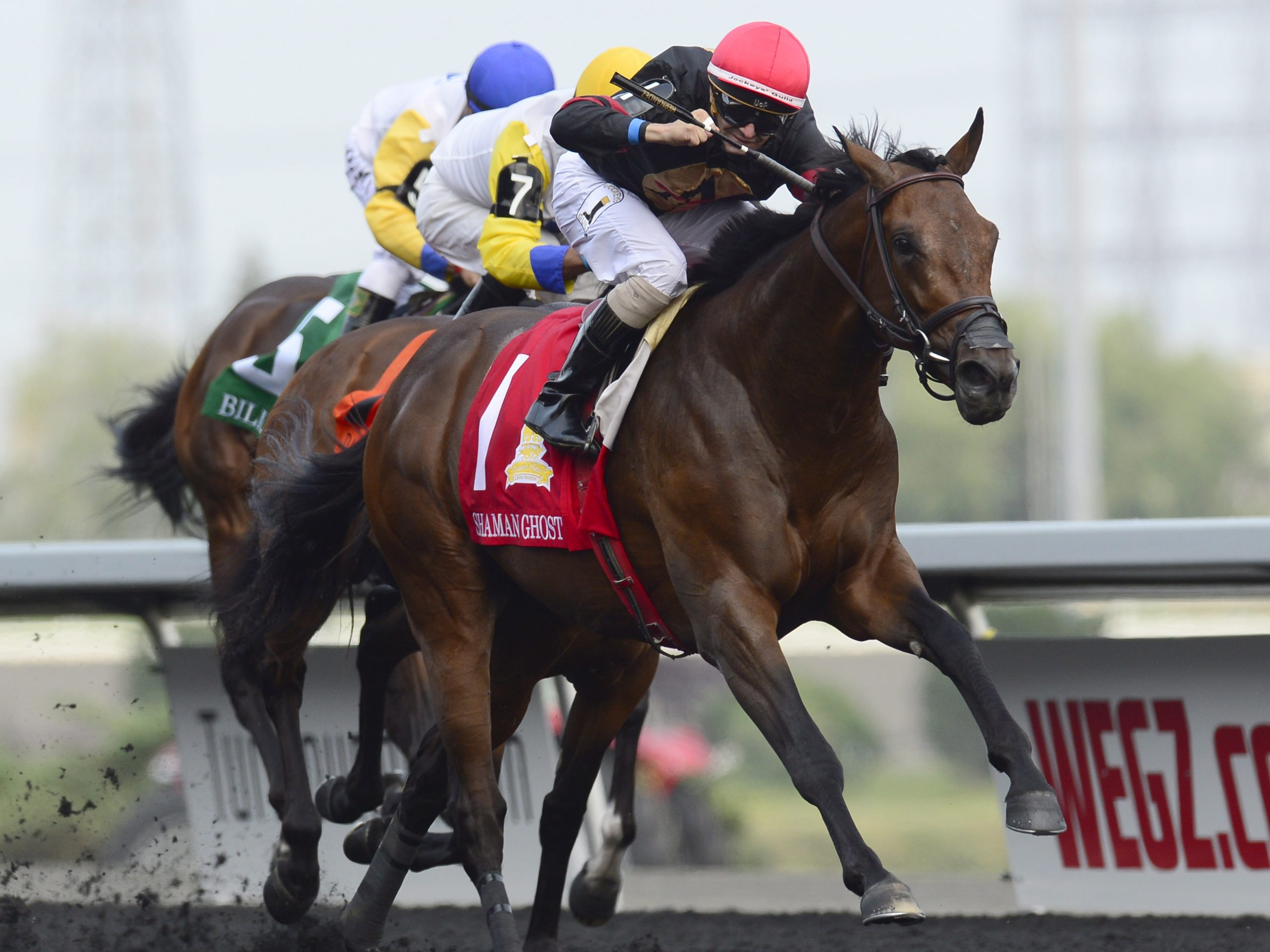 Jockey Rafael Hernandez (1) rides Shaman Ghost to win the 156th running of the Queen's Plate at Woodbine Racetrack in Toronto on Sunday, July 5, 2015. (Frank Gunn/The Canadian Press via AP) MANDATORY CREDIT