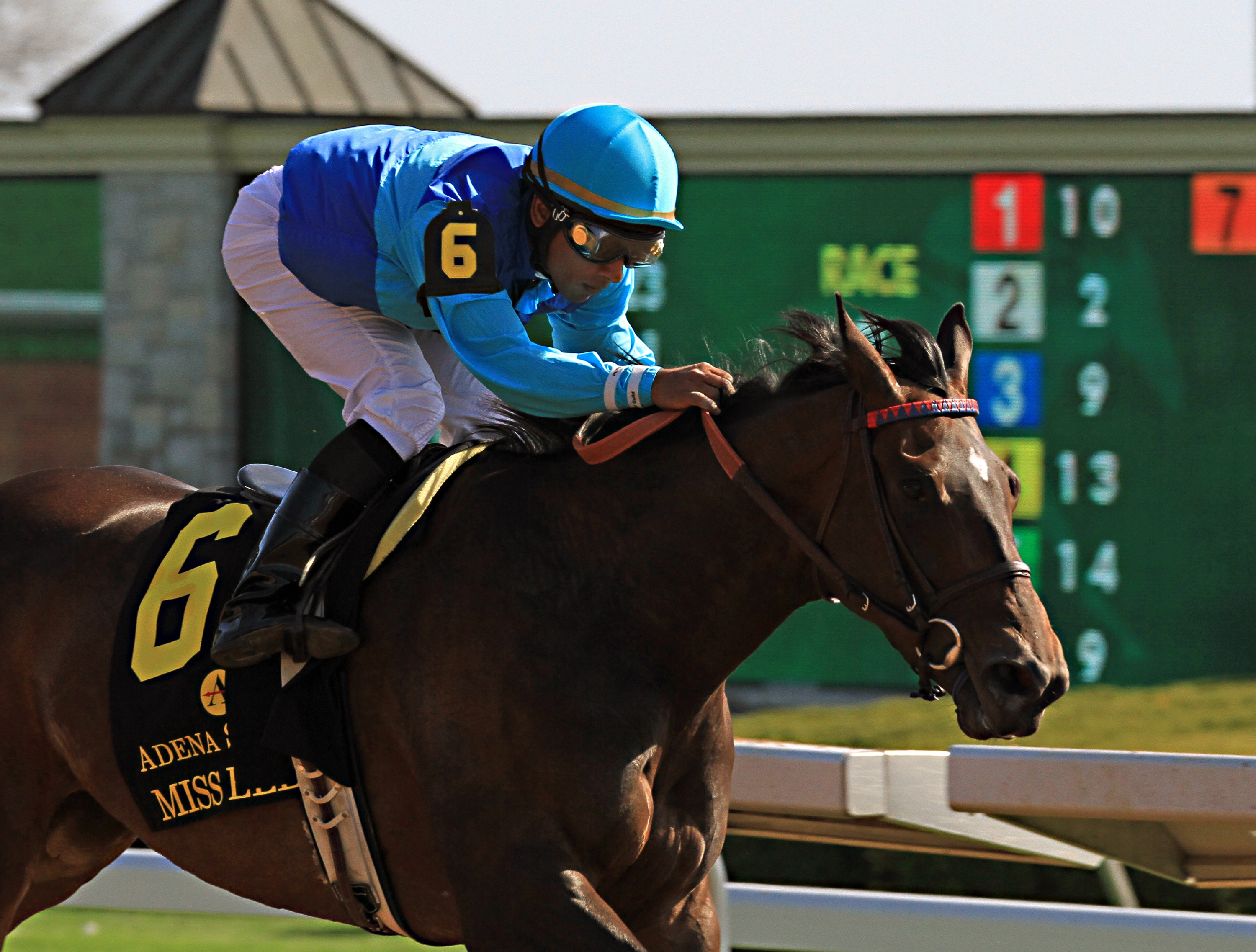 FILE - In this Sunday, April 12, 2015, file photo, jockey Rajiv Maragh rides Miss Ella to victory in the Beaumont Stakes horse race at Keeneland Race Course in Lexington, Ky. Maragh remains hospitalized with four fractured vertebrae, a broken left rib and