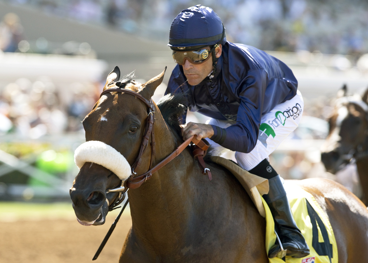 In this photo provided by Benoit Photo, Taris and jockey Gary Stevens win the Grade III, $100,000 Rancho Bernardo Handicap, Sunday, Aug. 16, 2016, at Del Mar Thoroughbred Club in Del Mar, Calif. (Benoit Photo via AP)