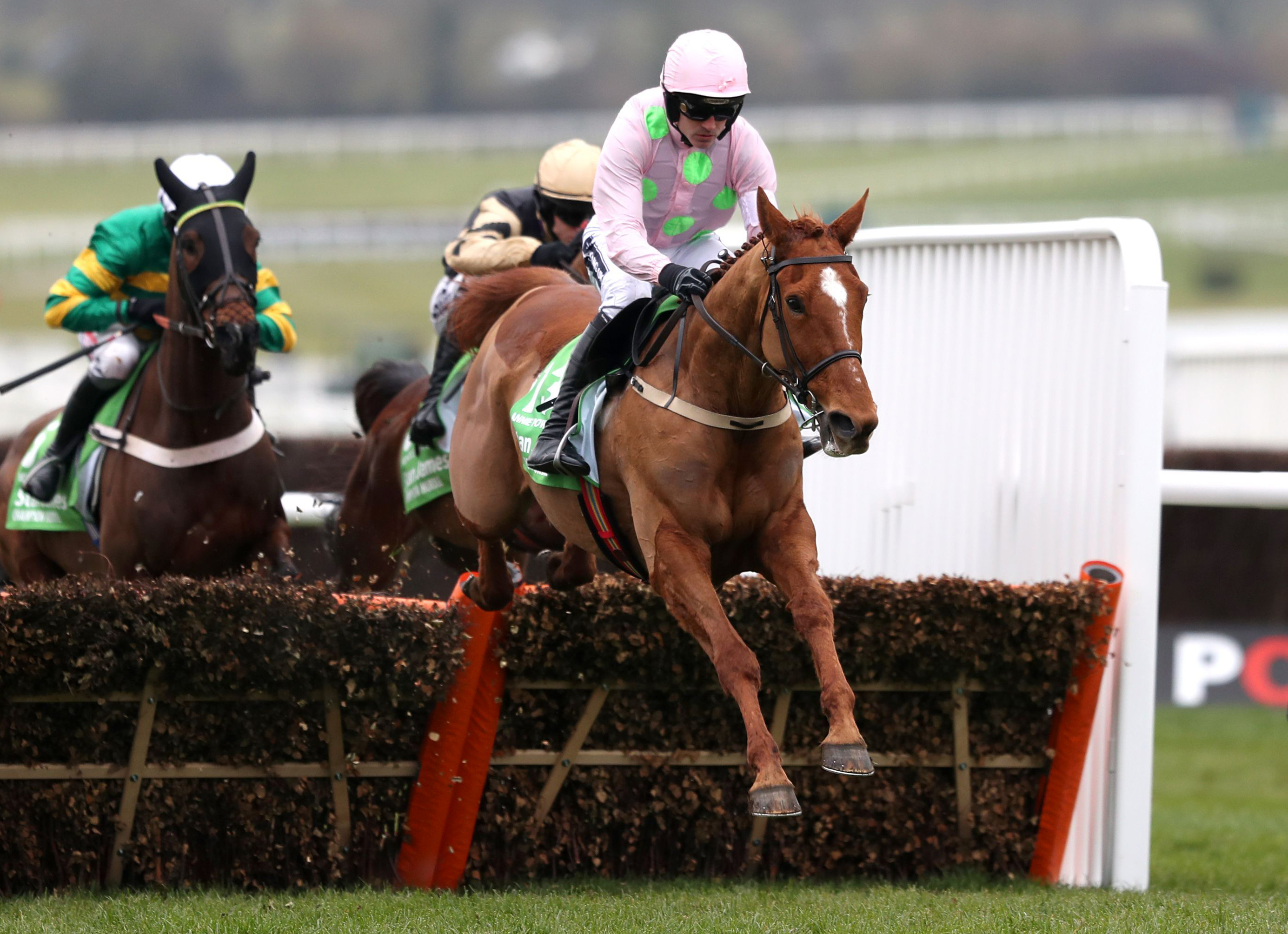 Annie Power ridden by Ruby Walsh clears the last hurdle to go onto win the  Champion Hurdle  during Champion Day of the 2016 Cheltenham Festival at Cheltenham Racecourse in Cheltenham England Tuesday March 15, 2016. (David Davies/PA via AP)  UNITED KINGDO
