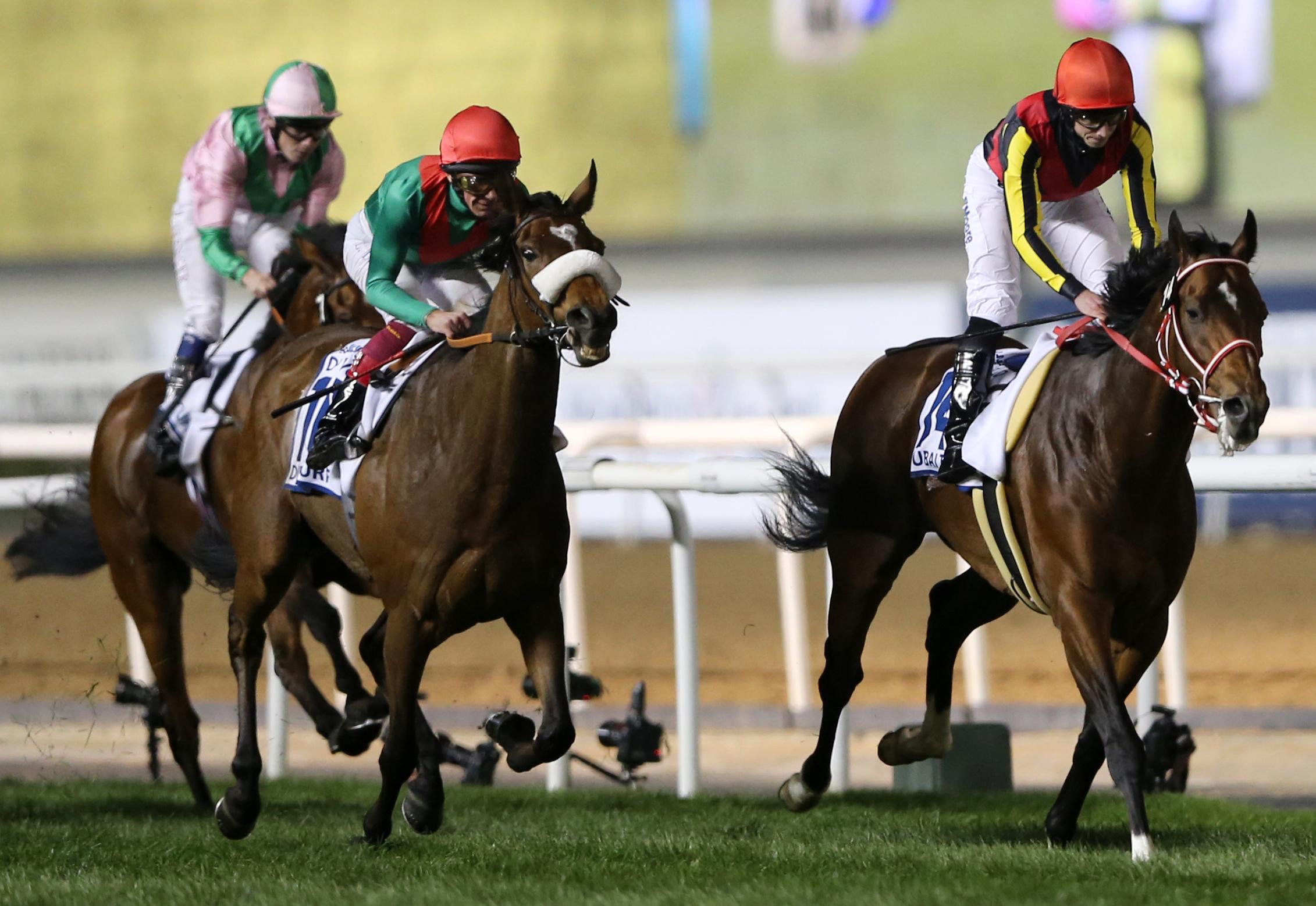 Japanese horse Real Steel ridden by Ryan Moore crosses the finish line to win the U.S. $ 6,000,000 Dubai Turf of the Dubai World Cup horse racing at the Meydan Racecourse in Dubai, United Arab Emirates, Saturday, March 26, 2016.  (AP Photo/Kamran Jebreili