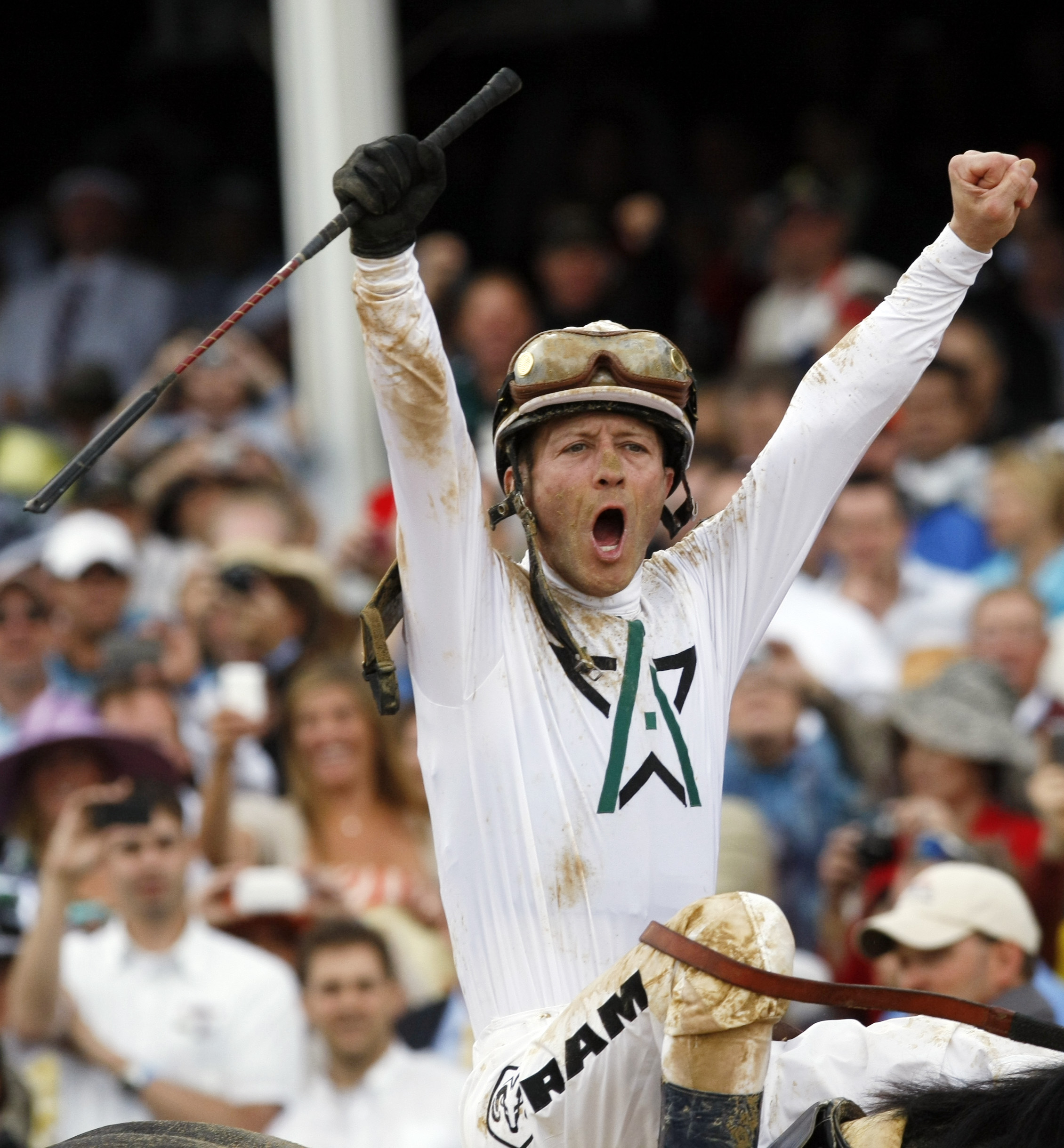 FILE - In this May 1, 2010, file photo, Calvin Borel on Super Saver reacts after winning the 136th Kentucky Derby horse race at Churchill Downs in Louisville, Ky. Three-time Kentucky Derby winner and Hall of Fame jockey Calvin Borel is retiring.  The popu