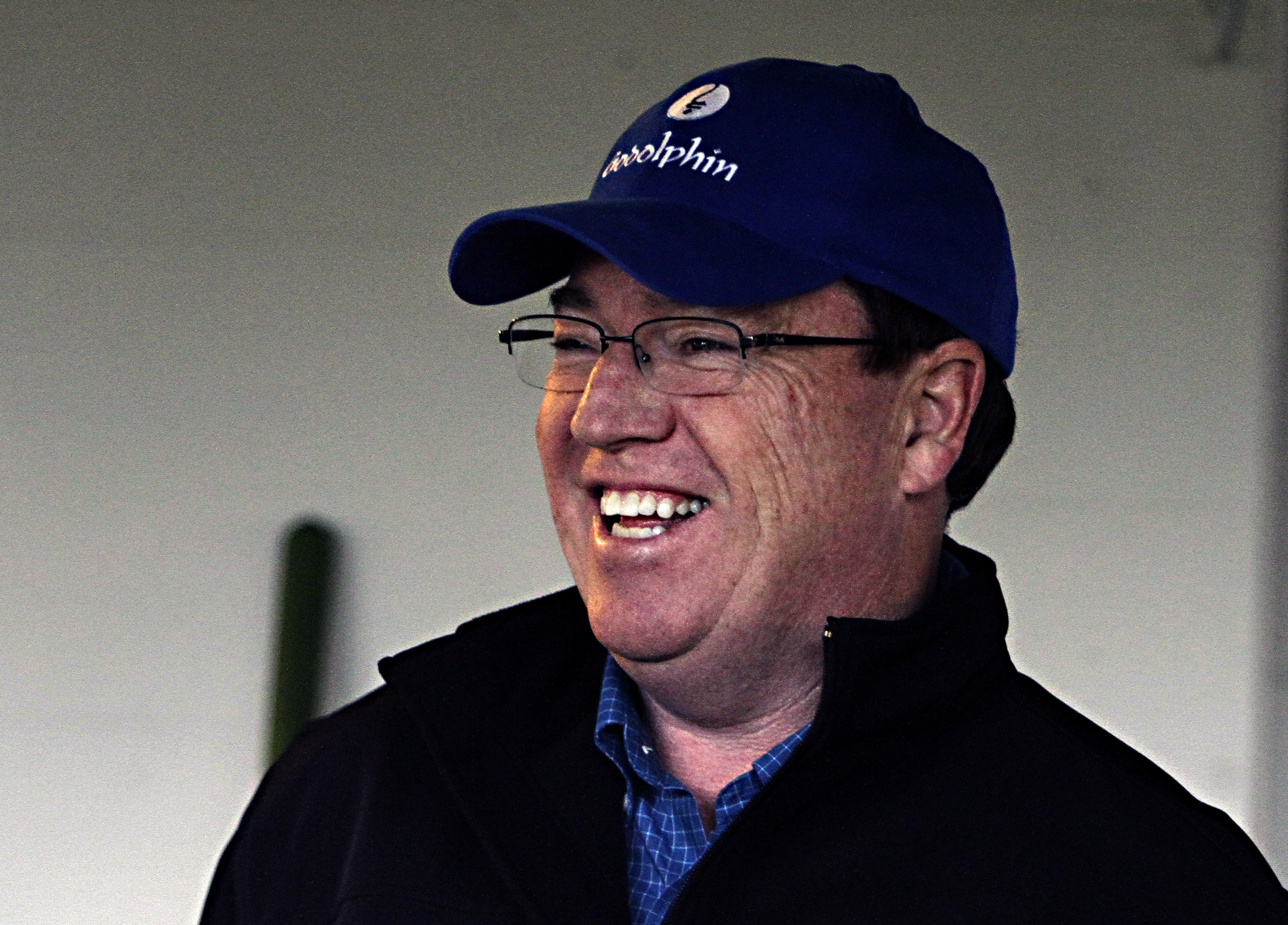 FILE - In this April 29, 2015, file photo, trainer Kiaran McLaughlin laughs before heading to the track to watch his Kentucky Derby hopeful, Frosted, gallop at Churchill Downs in Louisville, Ky. McLaughlin almost stole the Kentucky Derby when he took a 72
