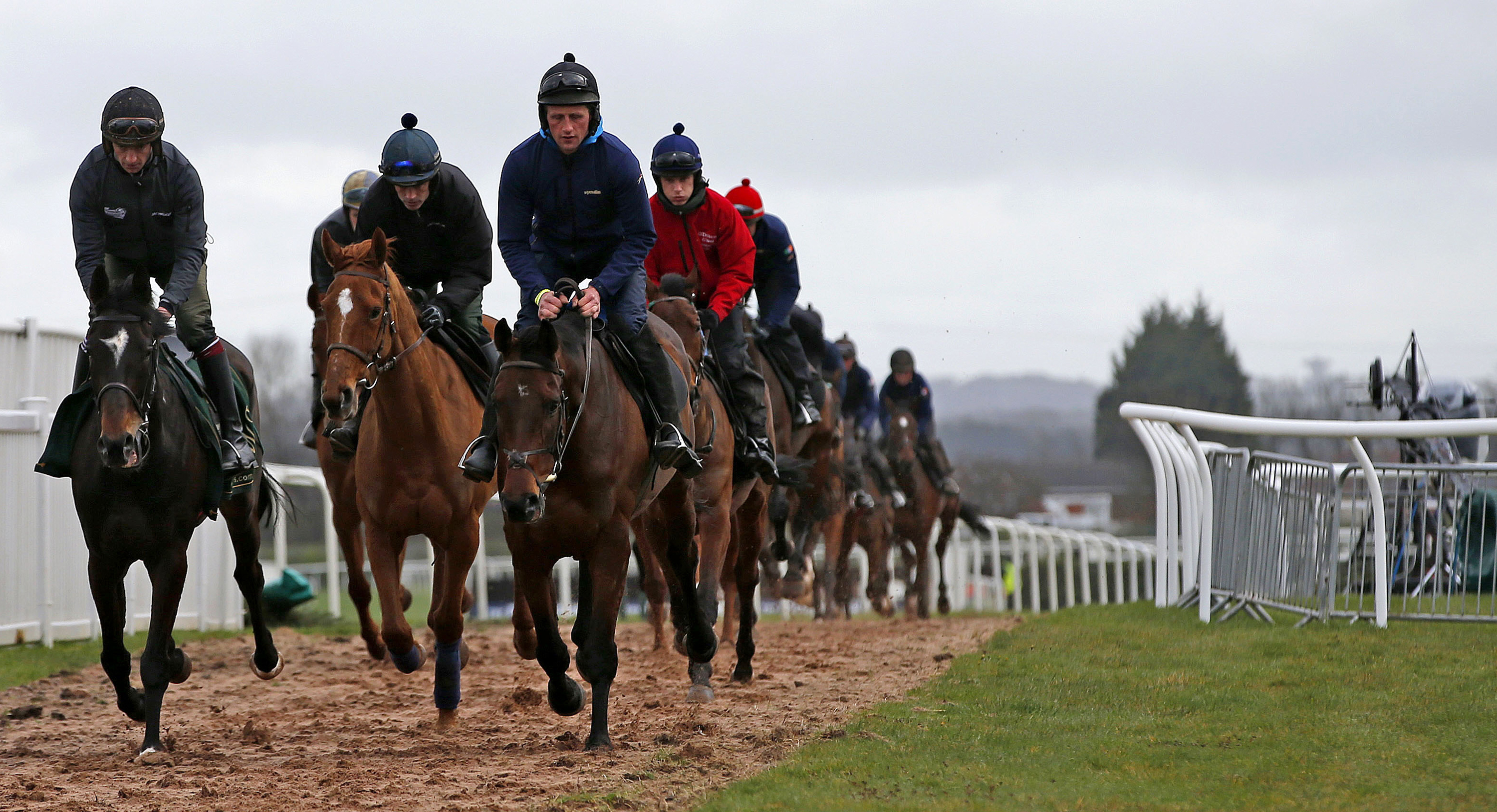 Horses on the gallops early morning on a cold and overcast opening day prior to the official start of the Grand National Festival at Aintree Racecourse, Liverpool, England, Thursday April 7, 2016.  The Festival is a premier fixture for horse racing, with