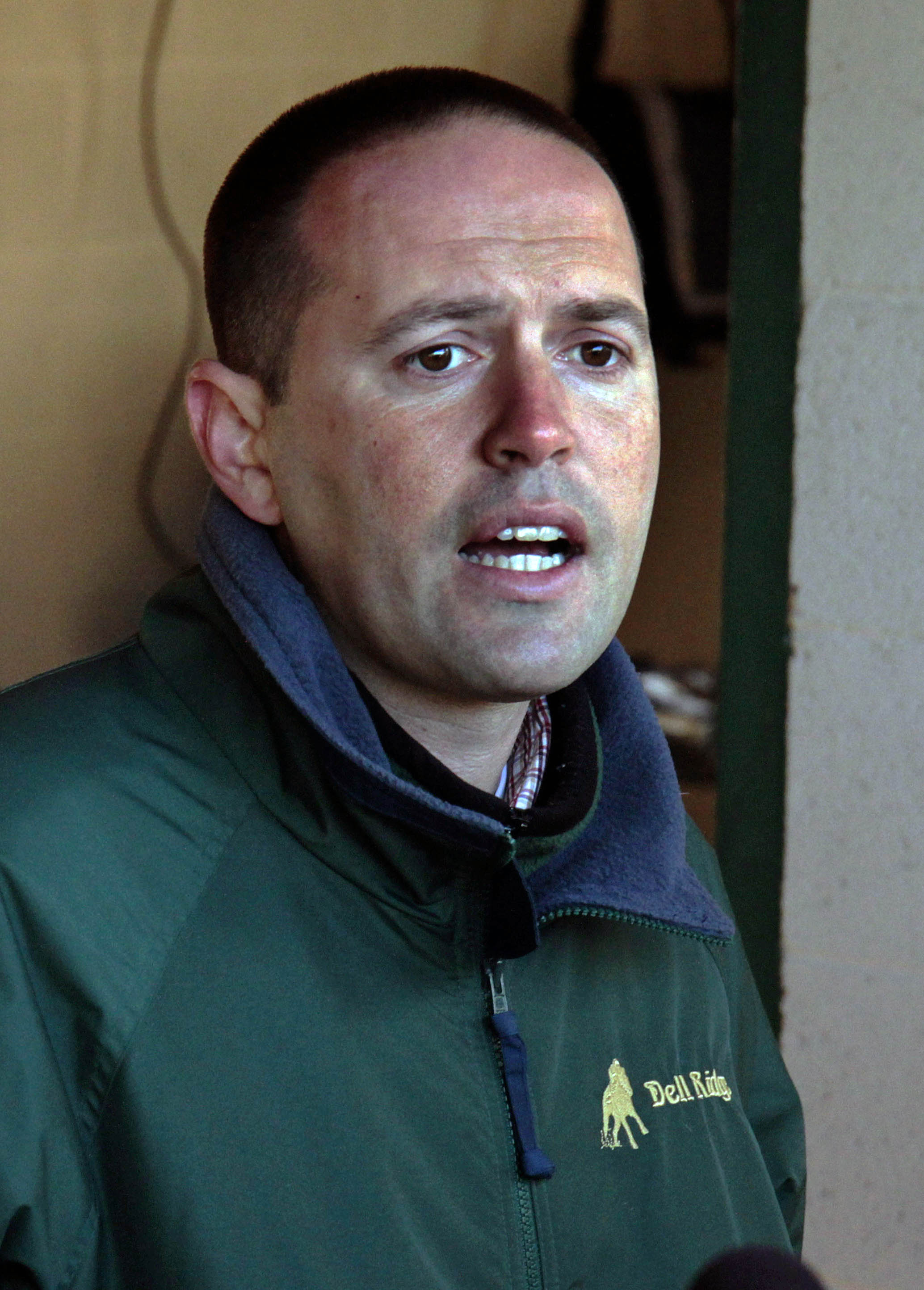 FILE - In this Sunday, April 21, 2013 file photo, Trainer Chad Brown talks about his Kentucky Derby hopeful Normandy Invasion outside Barn 42 at Churchill Downs in Louisville, Ky. Chad Brown had a pretty good run the first time he took a horse to the Kent