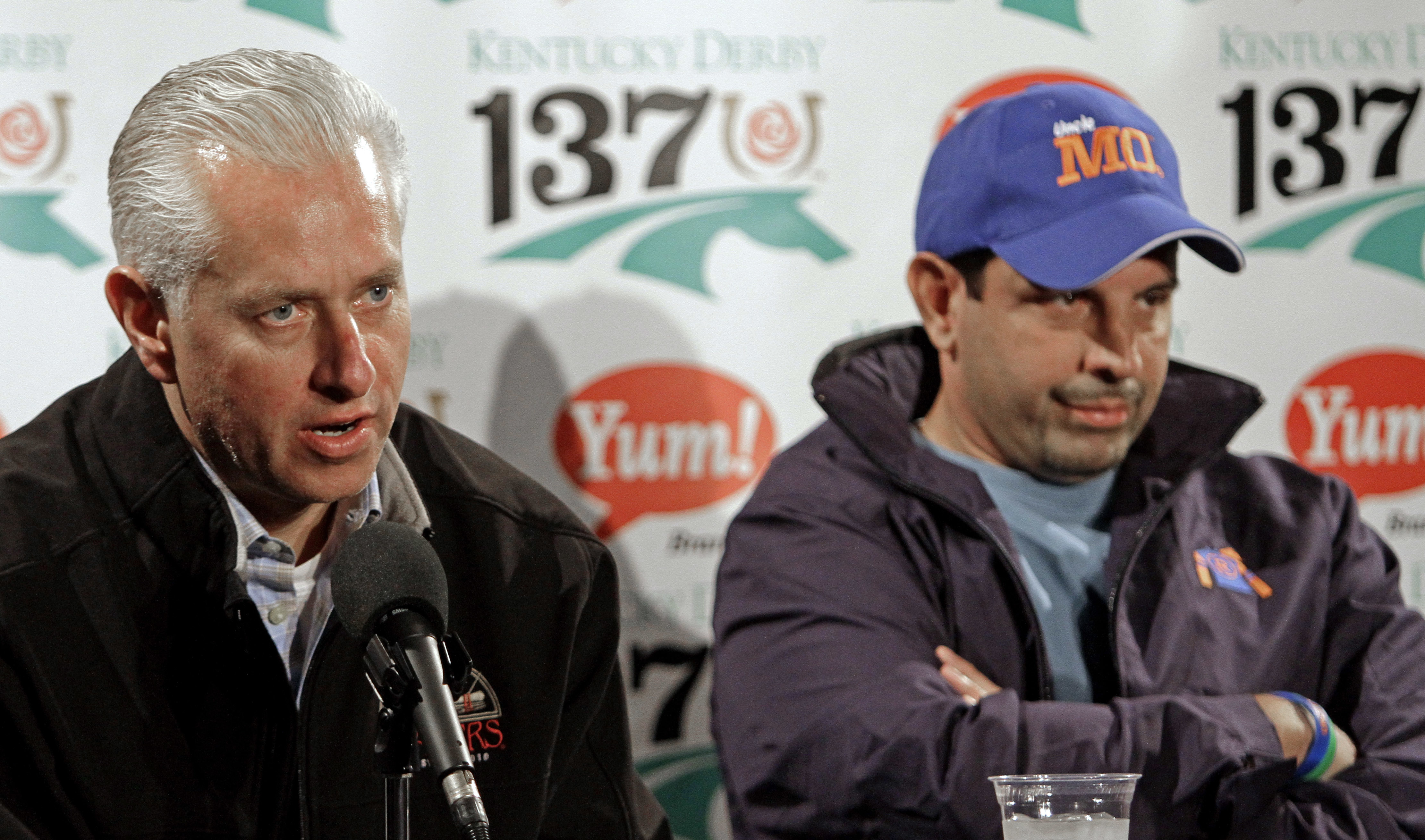 FILE - In this May 6, 2011 file photo, Uncle Mo owner Mike Repole, right, and trainer Todd Pletcher talk at a news conference at Churchill Downs in Louisville, Ky. Five years ago, Mike Repole was living the dream. He had already made his share of an estim