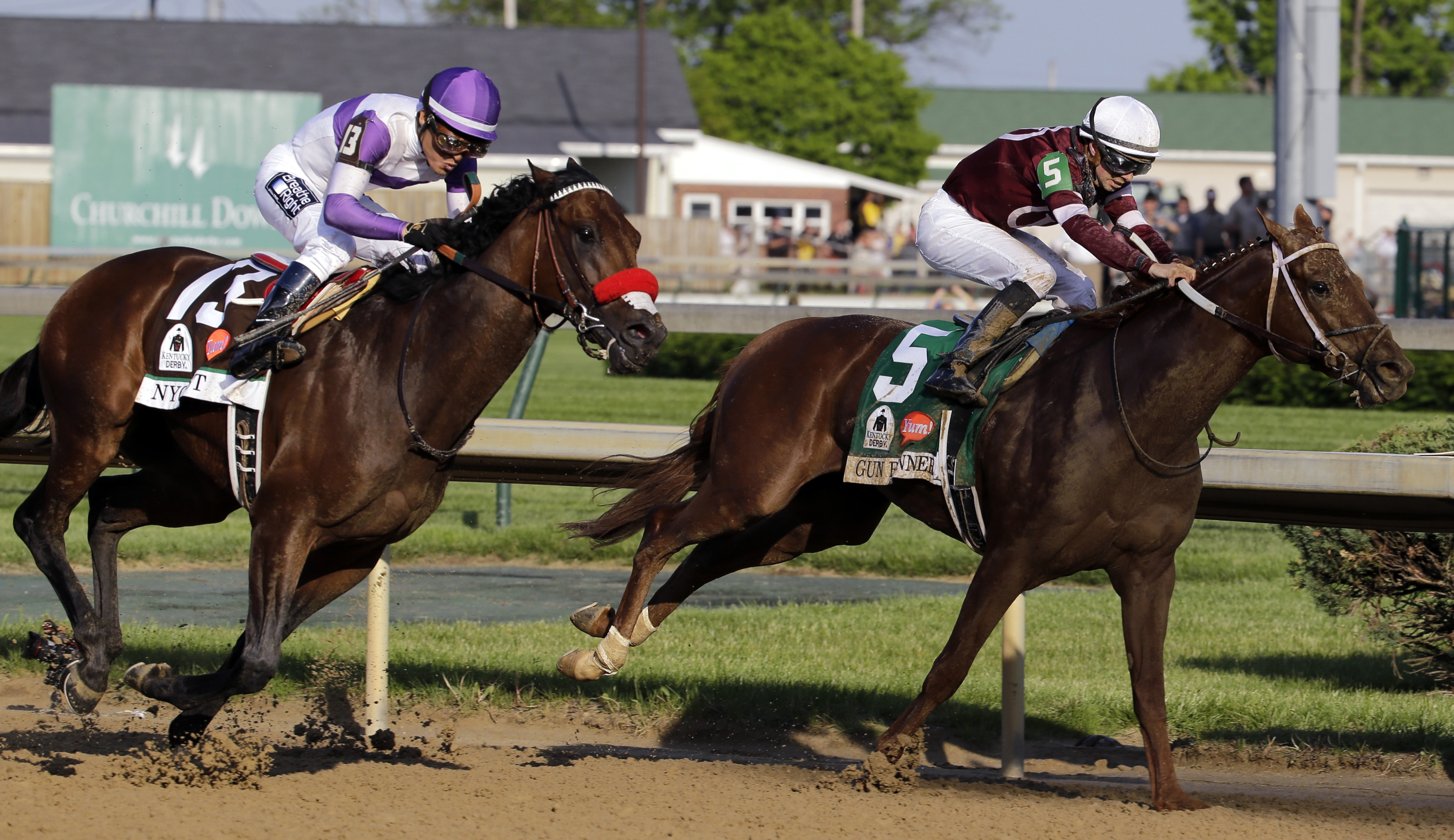 FILE - In this May 7, 2016, file photo,  Nyquist, left, ridden by Mario Gutierrez, rides past Gun Runner during the 142nd running of the Kentucky Derby horse race at Churchill Downs in Louisville, Ky. Gun Runner, third-place finisher in the Kentucky Derby