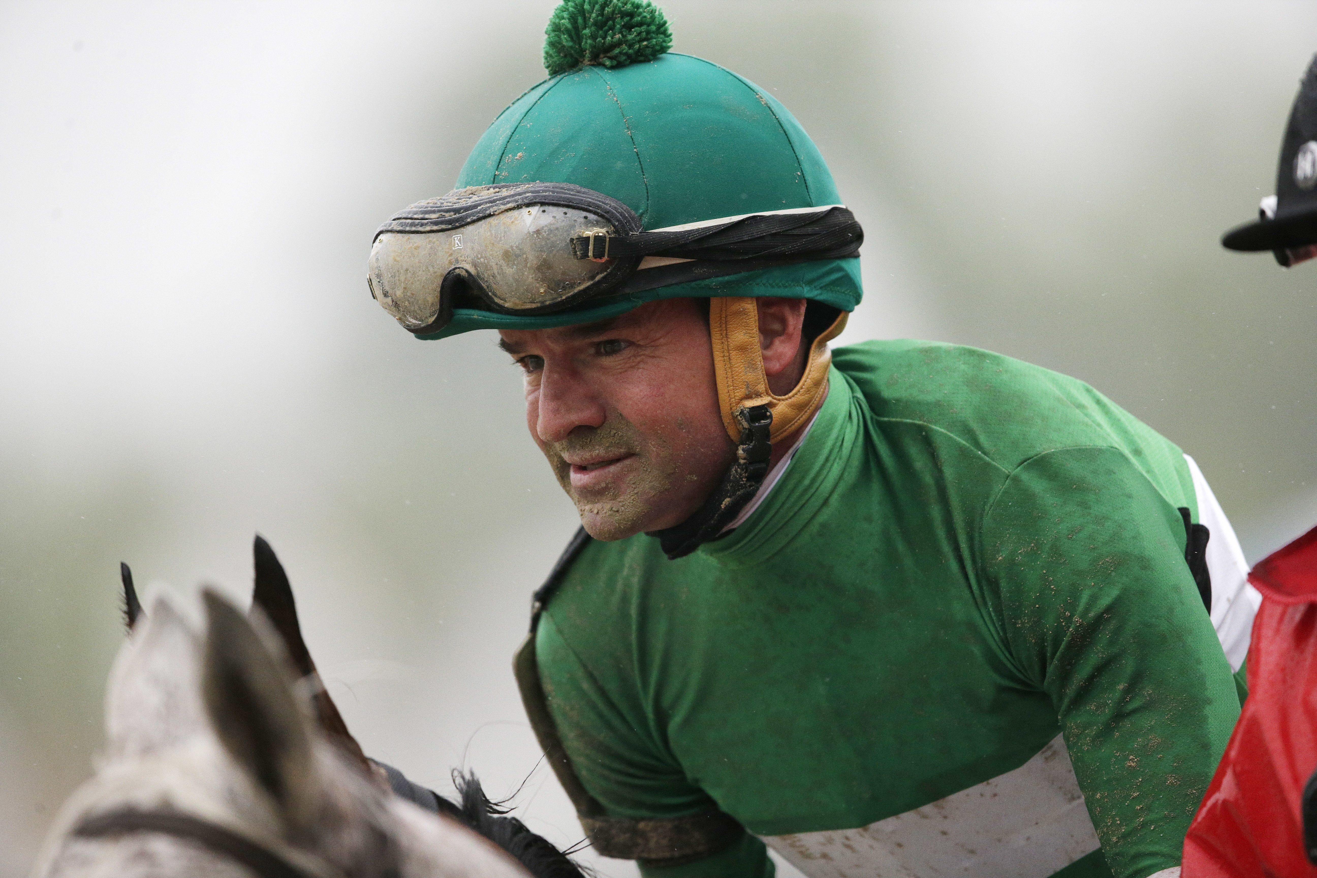 FILE - In this May 21, 2016, file photo, Kent Desormeaux atop Exaggerator moves to winners circle after winning the 141st Preakness Stakes horse race at Pimlico Race Course in Baltimore. Hall of Fame jockey Kent Desormeaux has returned from a drug and alc