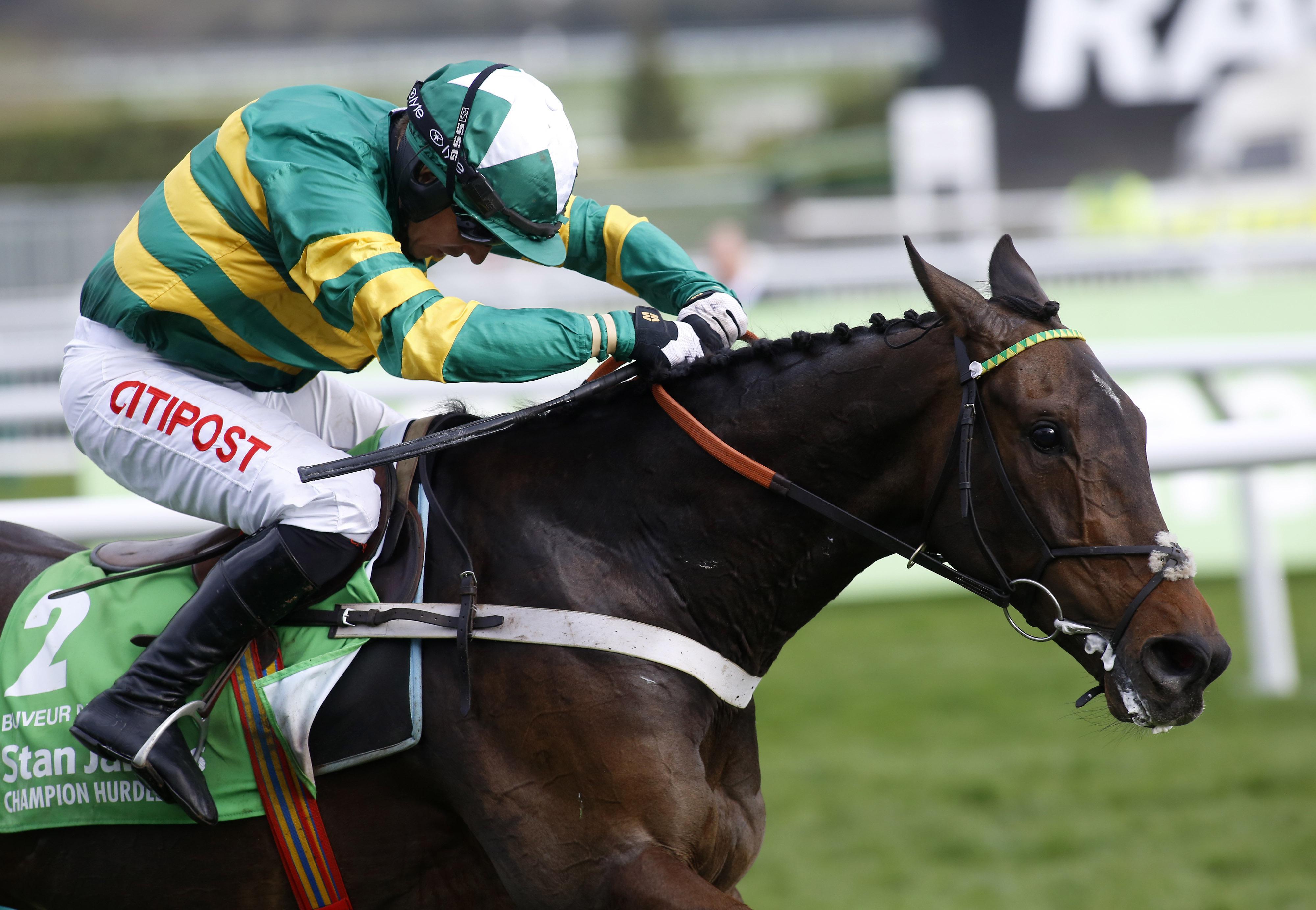 Buveur D'Air and Noel Fehily lead the field to the finish line to win The Stan James Champion Hurdle Race during Champion Day of the 2017 Cheltenham Festival of horse racing at Cheltenham Racecourse, England Tuesday March 14, 2017. (Julian Herbert/PA via