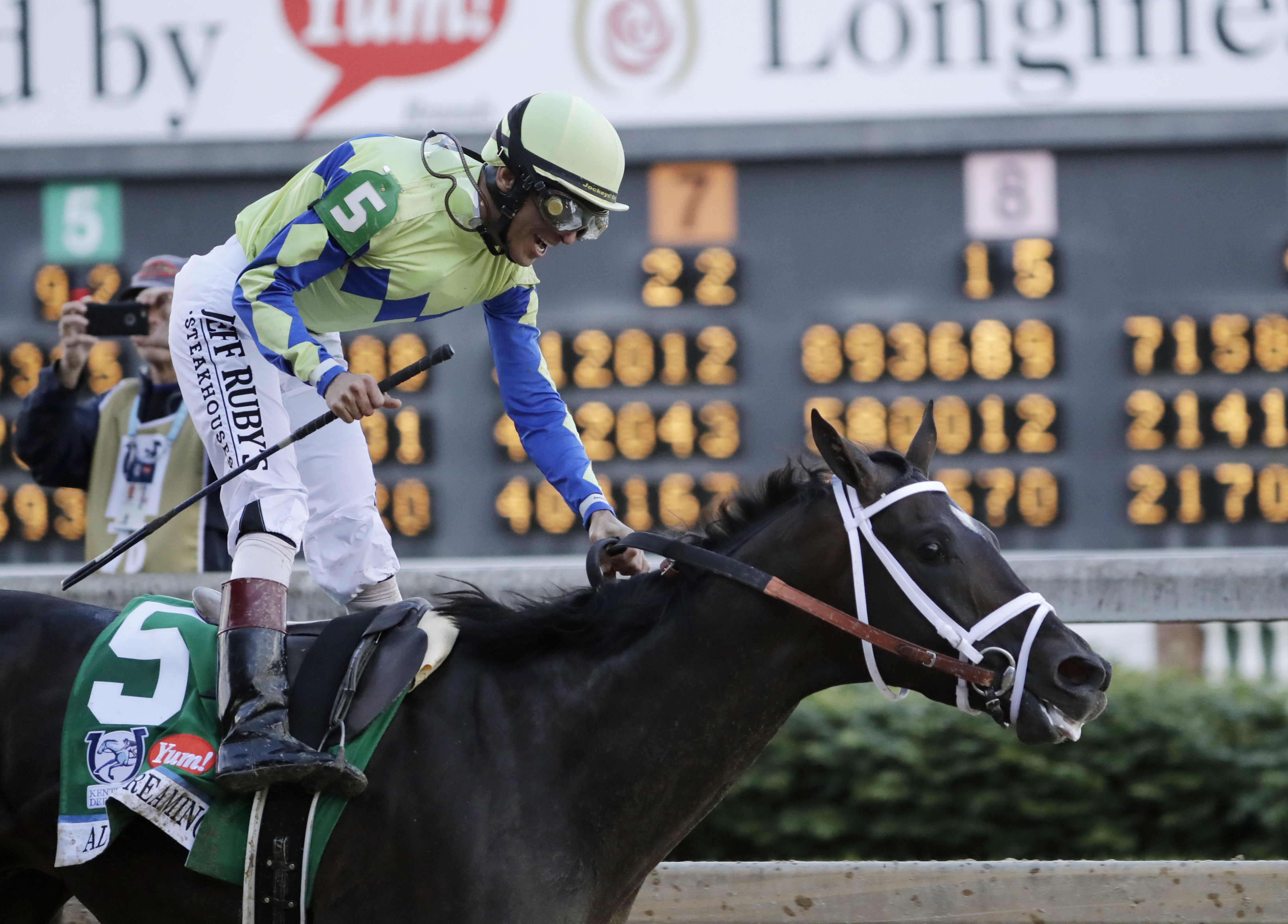 John Velazquez rides Always Dreaming to victory in the 143rd running of the Kentucky Derby horse race at Churchill Downs Saturday, May 6, 2017, in Louisville, Ky. (AP Photo/Tim Donnelly)