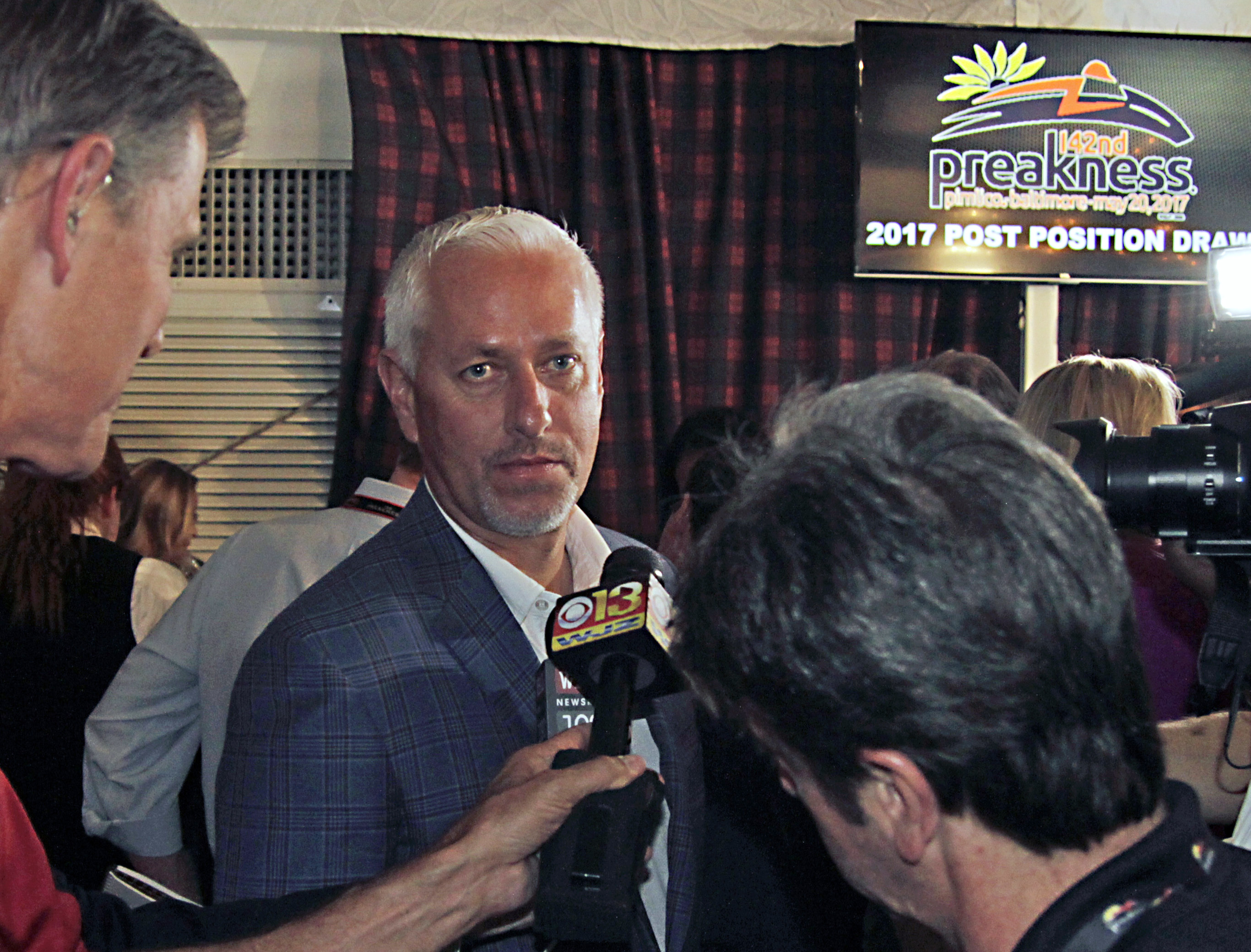 Always Dreaming trainer Todd Pletcher listens to questions following the post-position draw for Saturday's Preakness Stakes horse race, Wednesday, May 17, 2017, at Pimlico in Baltimore. Always Dreaming will break from post position No. 4. (AP Photo/Garry
