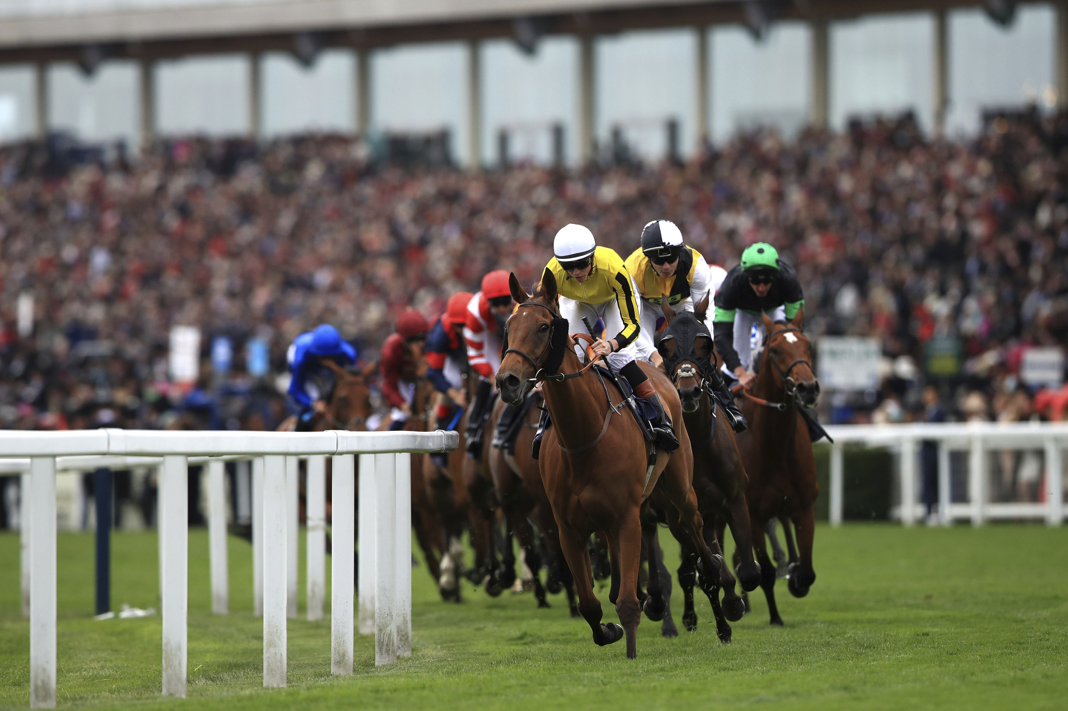Big Orange ridden by Jockey James Doyle leads the way to winning the Gold Cup  during day three of Royal Ascot at Ascot Racecourse, in Ascot, England, Thursday June 22, 2017. (John Walton/PA via AP)
