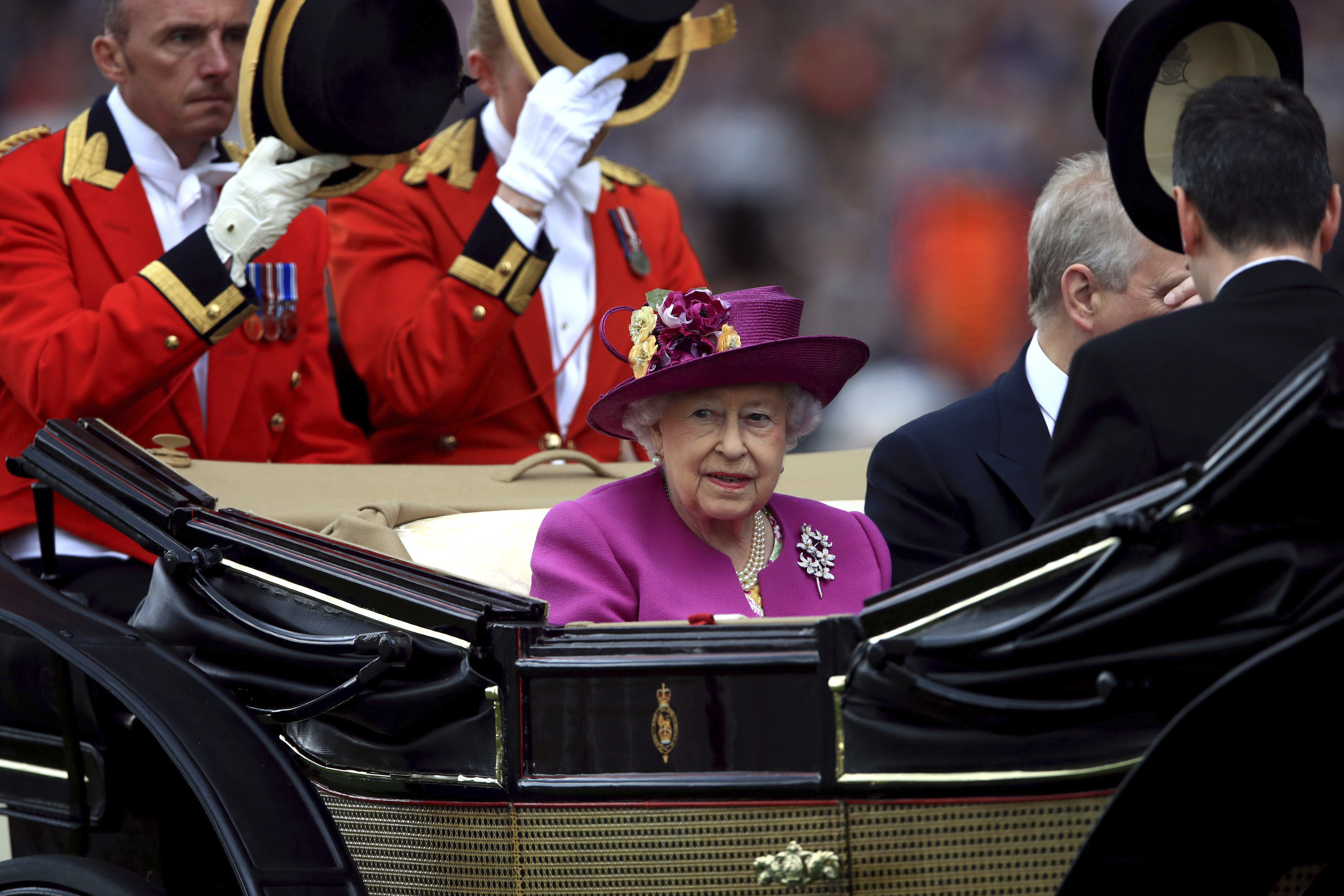 Queen Elizabeth II arrives during during day five of Royal Ascot at Ascot Racecourse, England. Saturday June 24, 2017. (John Walton/PA via AP)