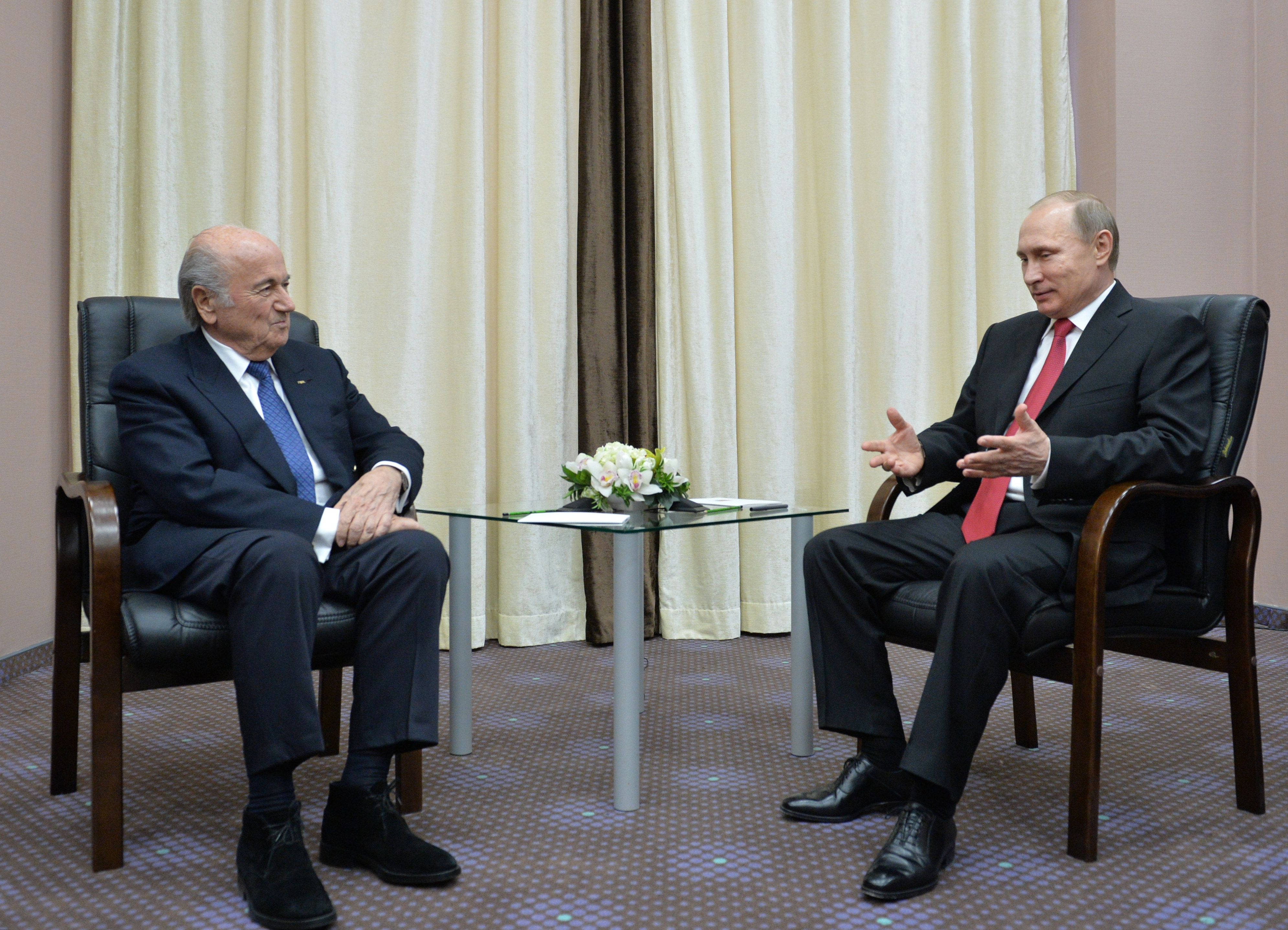 Russian President Vladimir Putin, right, meets with FIFA President Sepp Blatter in the Russian Black Sea resort of Sochi, Russia, Monday, April 20, 2015. (Alexei Druzhinin/RIA Novosti, Kremlin Pool Photo via AP)
