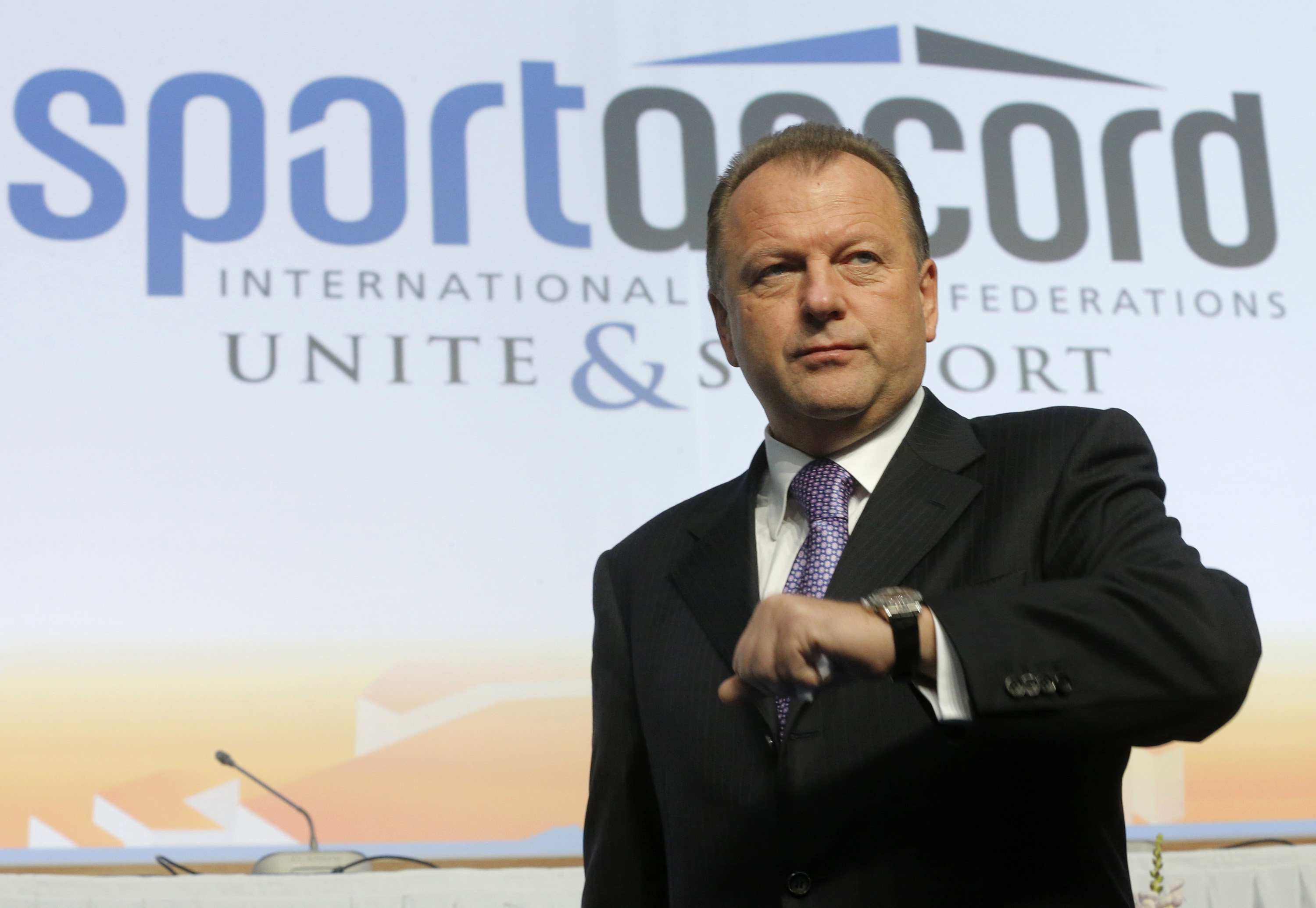FILE - In this Friday, May 31, 2013 file photo, Marius Vizer, president of the International Judo Federation, (IJF) attends the SportAccord International Convention in St. Petersburg, Russia. The head of umbrella body SportAccord has issued Thursday May 2