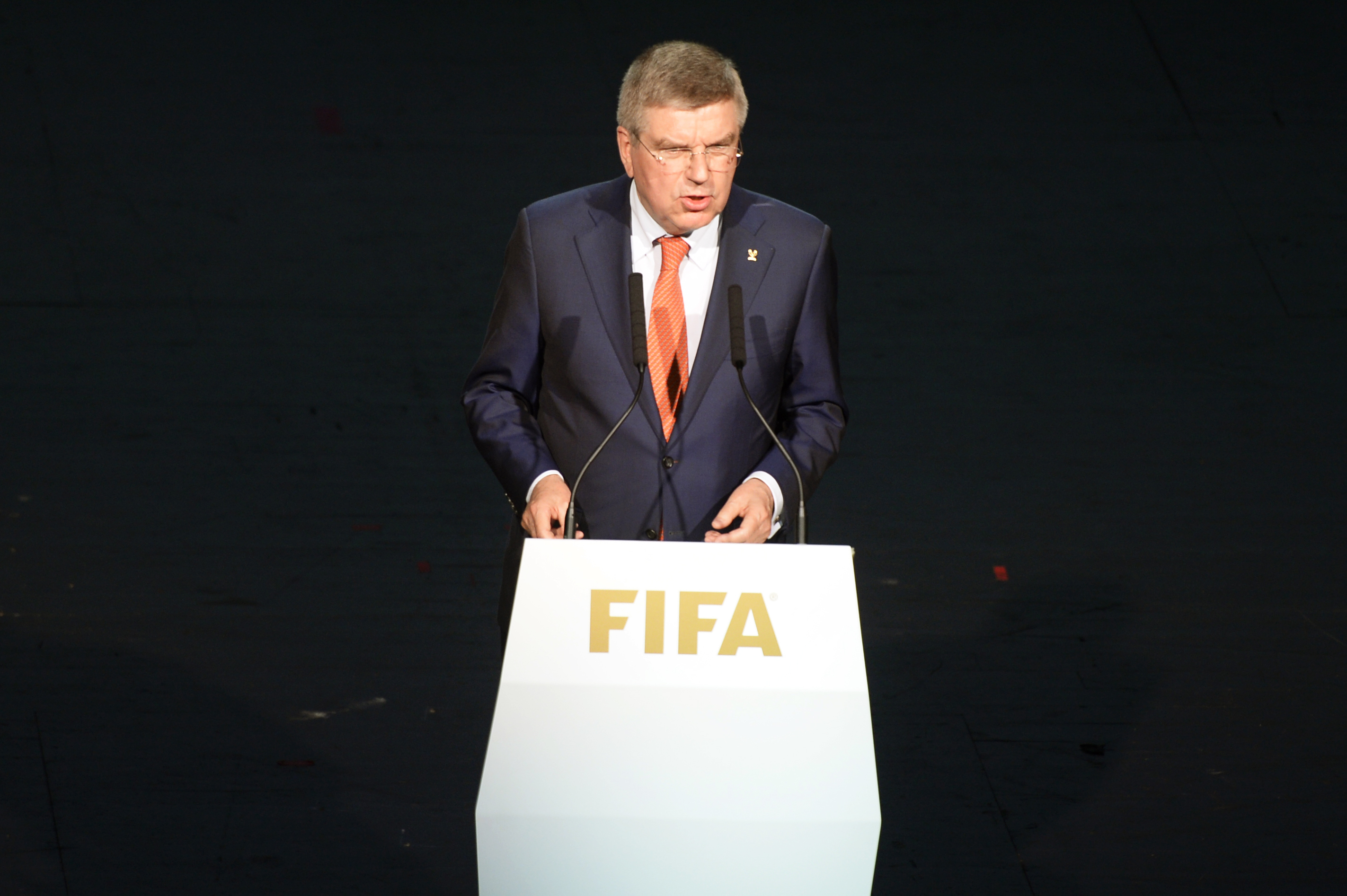President of the International Olympic Committee, IOC, Thomas Bach delivers a speech at the opening ceremony of the FIFA congress in Zuerich, Switzerland on Thursday May 28, 2015. The FIFA congress with the president's election is scheduled for Friday, Ma