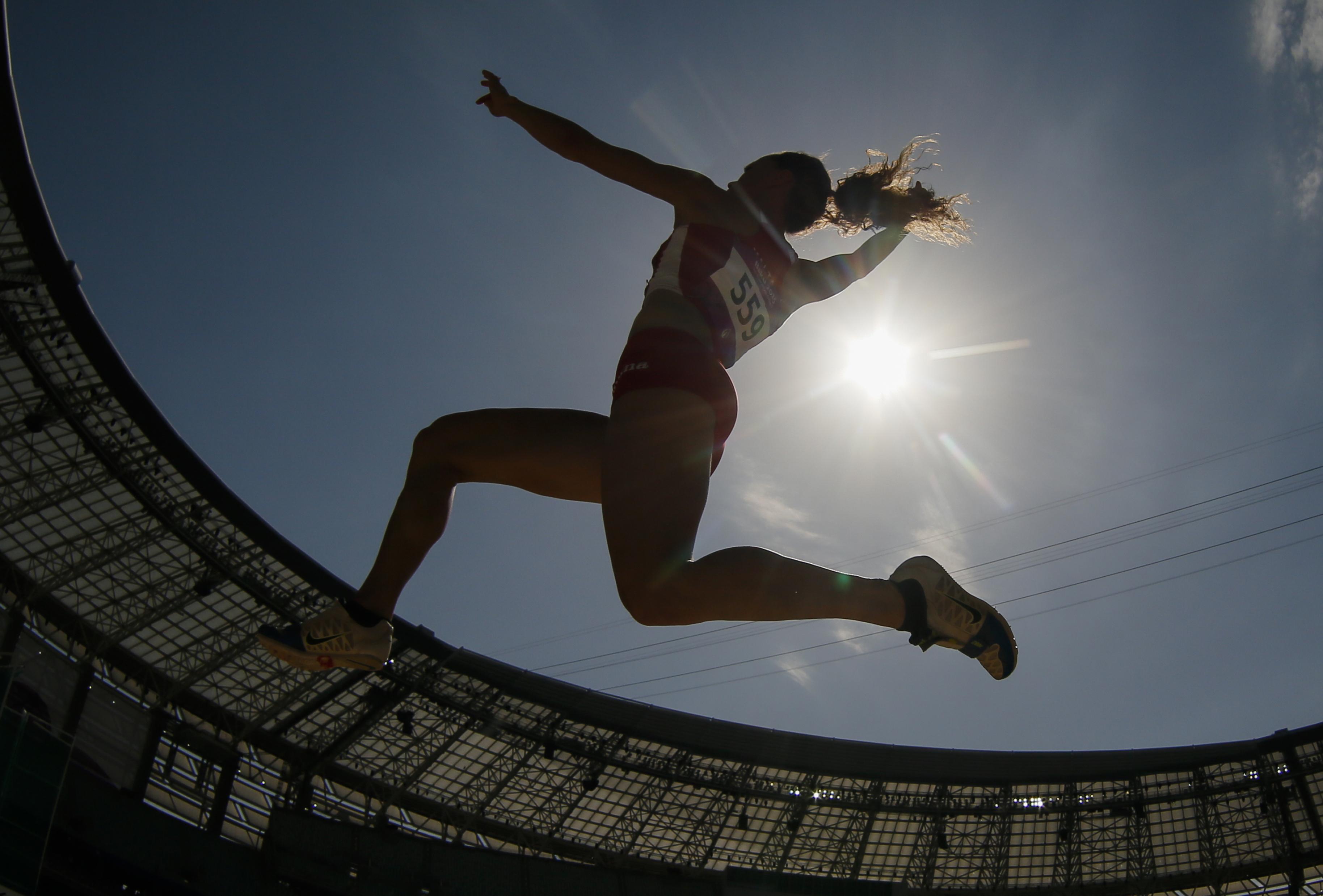 Rebecca Camilleri of Malta competes during the women's long jump event at the 2015 European Games in Baku, Azerbaijan, Monday, June 22, 2015. (AP Photo/Dmitry Lovetsky)