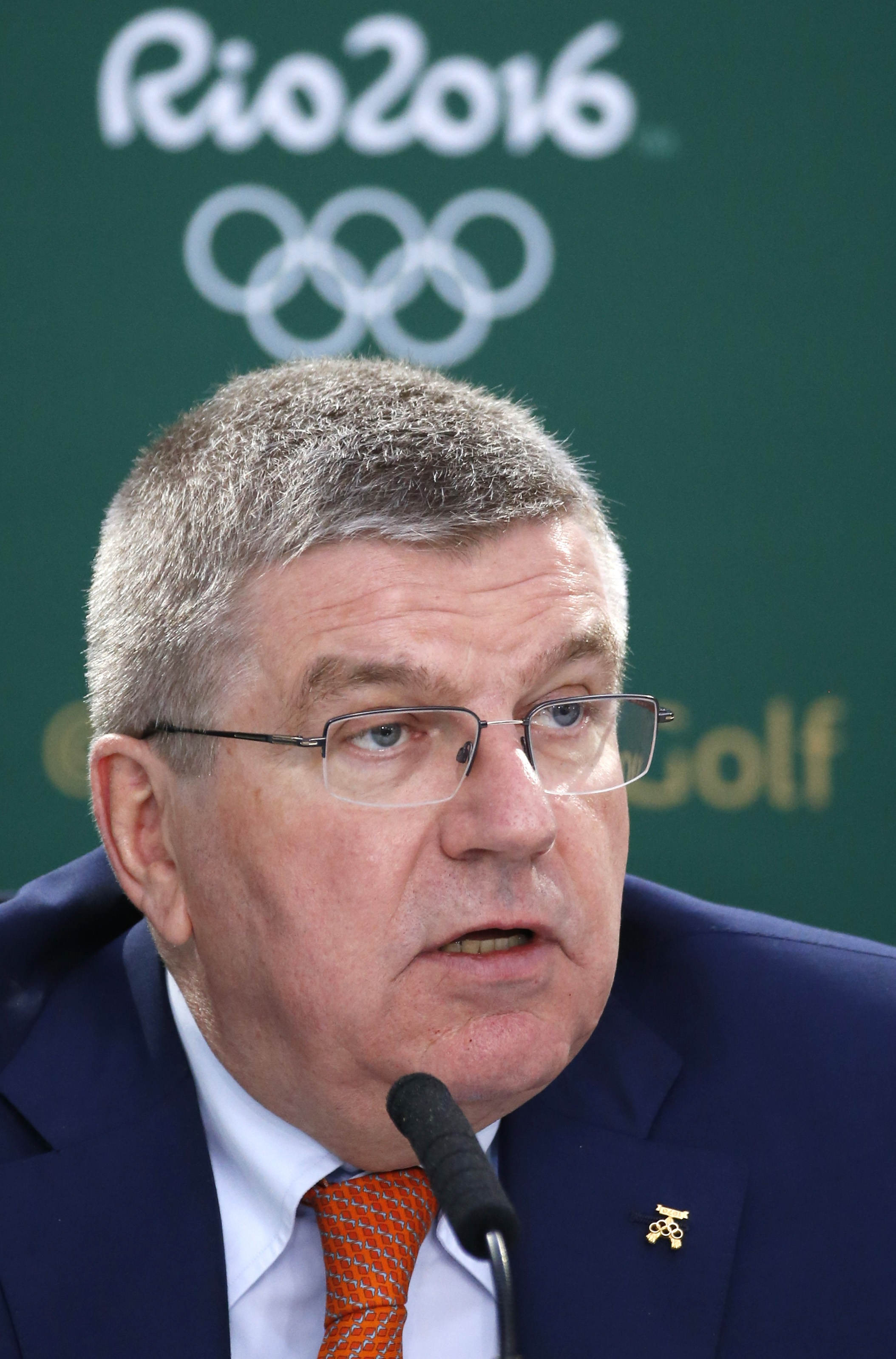 International Olympic Committee president Thomas Bach speaks during a news conference during the second round of the British Open Golf Championship at the Old Course, St. Andrews, Scotland, Saturday, July 18, 2015. Golf will feature at the Rio 2016 Olympi