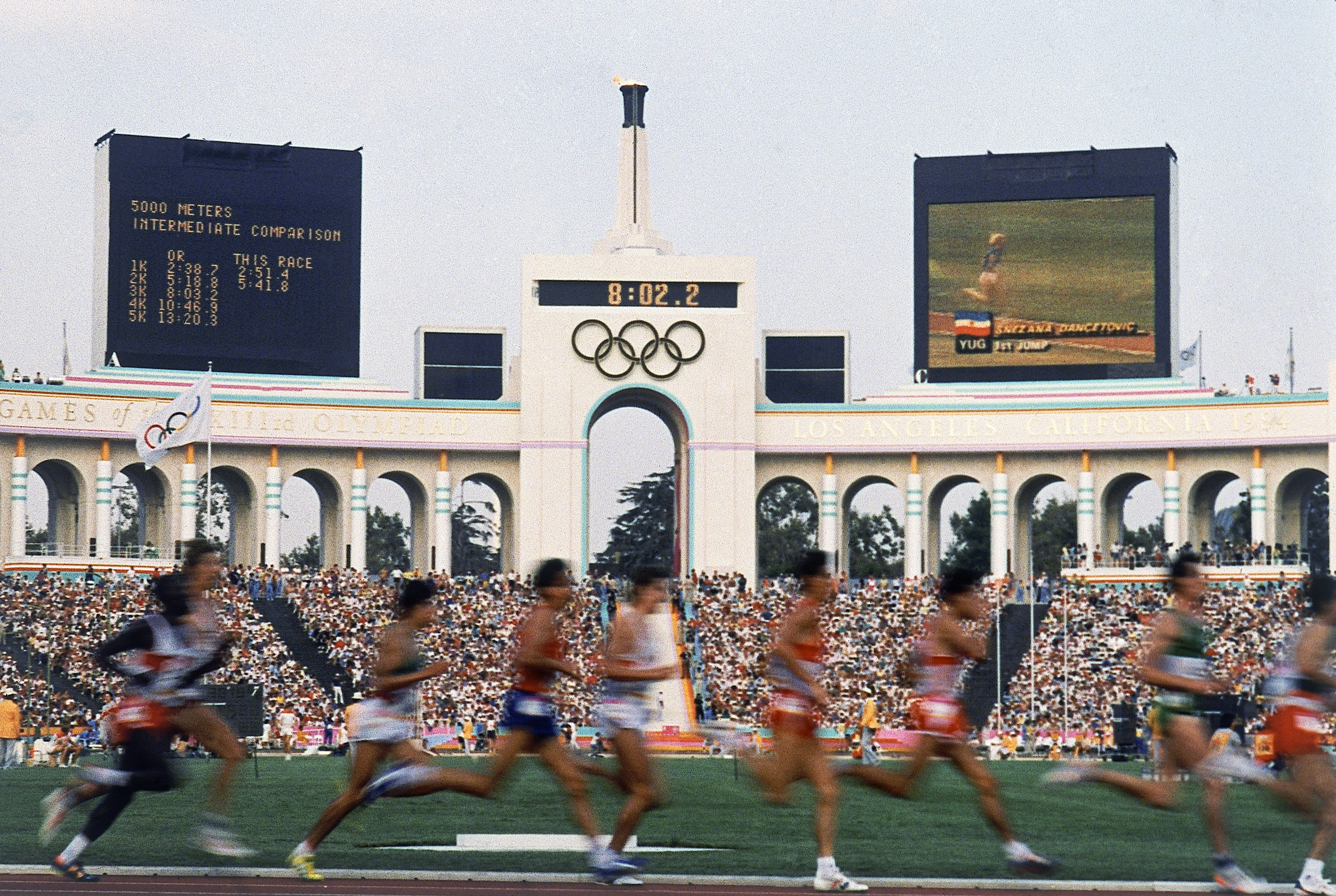 FILE - In this Aug. 1984 file photo, competitors run in the men's 5,000 meters at the Olympic Games in Los Angeles. The US Olympic Committee selected Los Angeles as replacement candidate for 2024 games Tuesday, Sept. 1, 2015.The US Olympic Committee selec