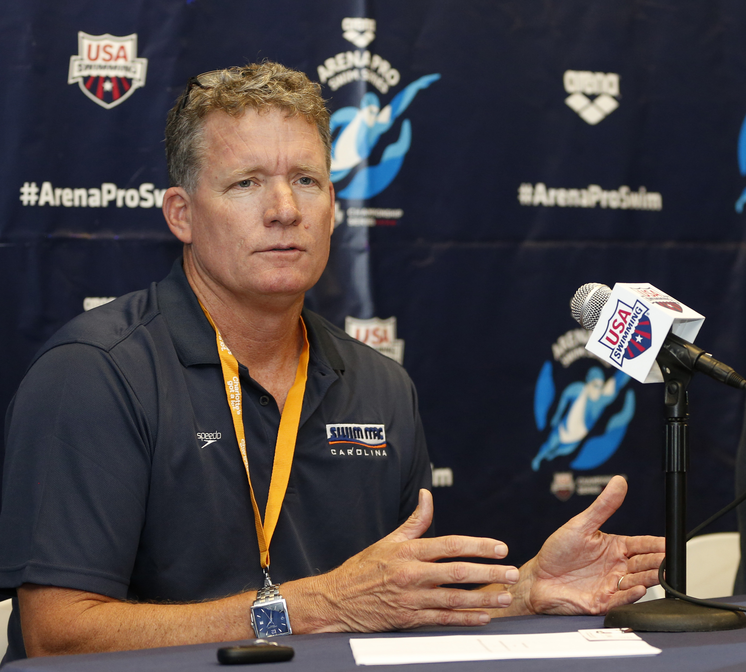 FILE - In this May 14, 2015, file photo, David Marsh answers a question during a press conference at the Arena Pro Swim Series meet in Charlotte, N.C. USA Swimming has picked Bob Bowman and David Marsh as its head coaches for the 2016 Olympics. The organi