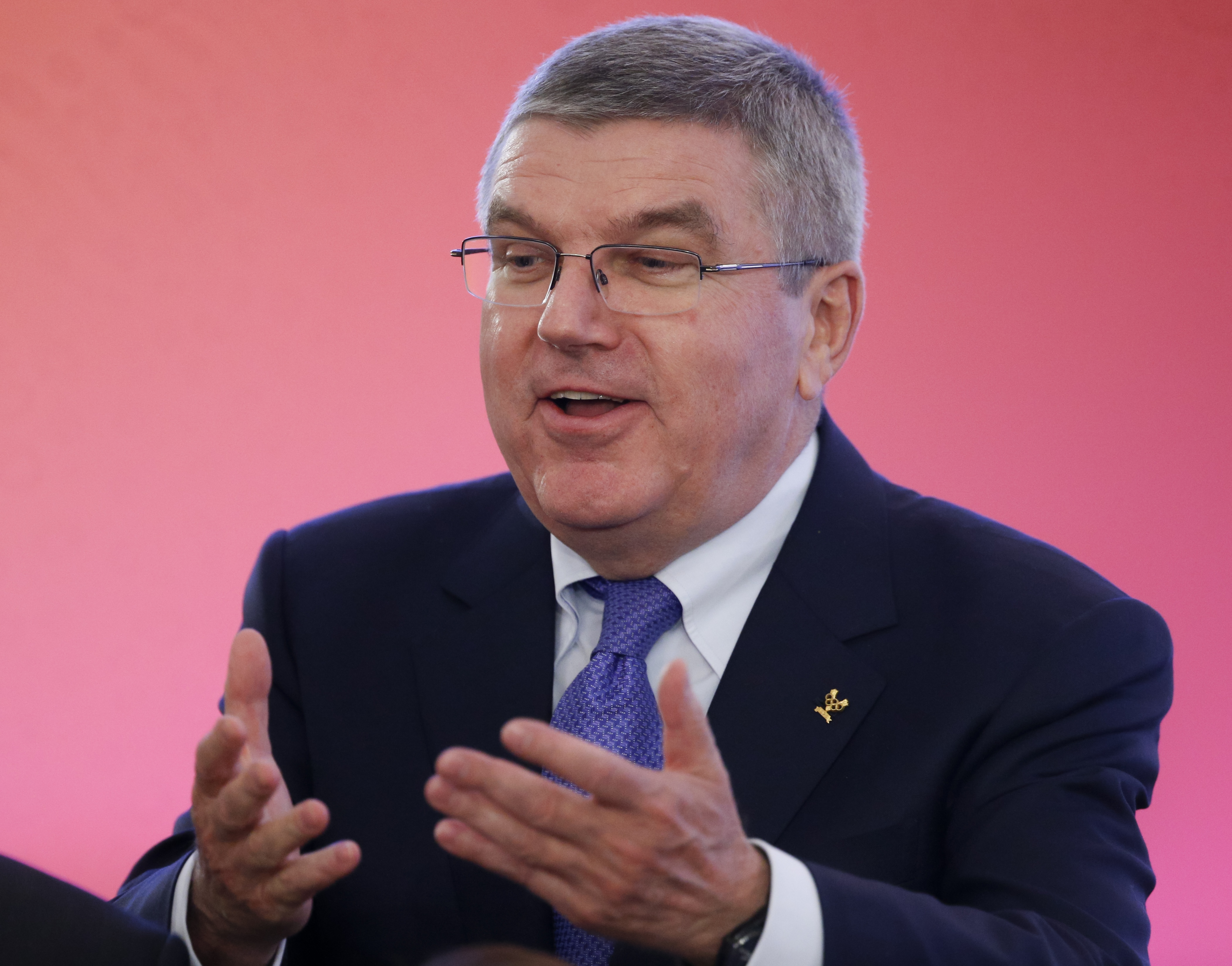 International Olympic Committee (IOC) President Thomas Bach attends  the World Olympians Forum in Moscow, Russia, Wednesday, Oct. 21, 2015. (AP Photo/Alexander Zemlianichenko, Pool)