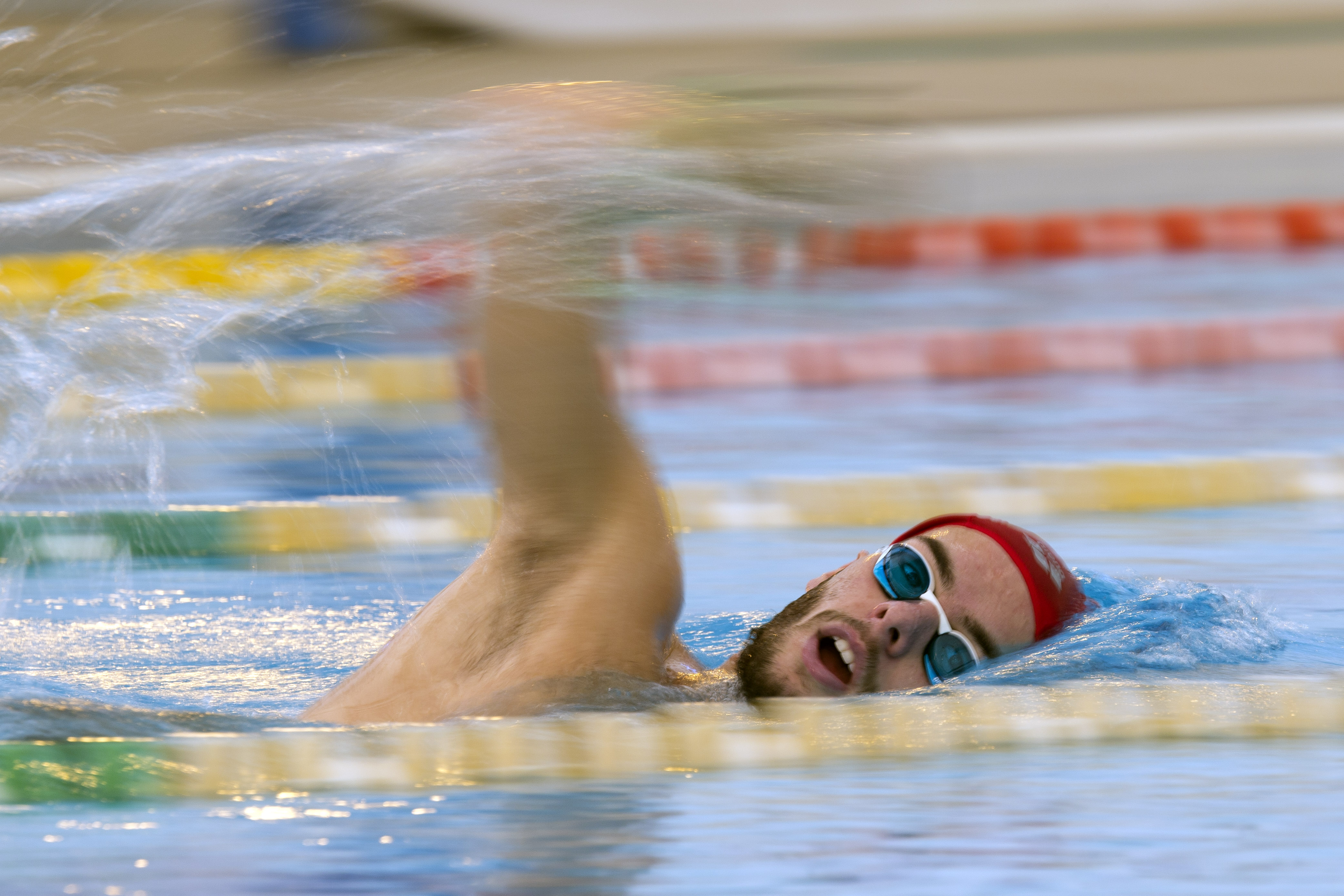 In this photo taken on Nov. 6, 2015, Italian swimmer Gregorio Paltrinieri trains in Rome. The Italian swimmer recovered from his initial shock over Sun Yang's last-minute no-show to win the longest race in the pool at this year's world championships. For